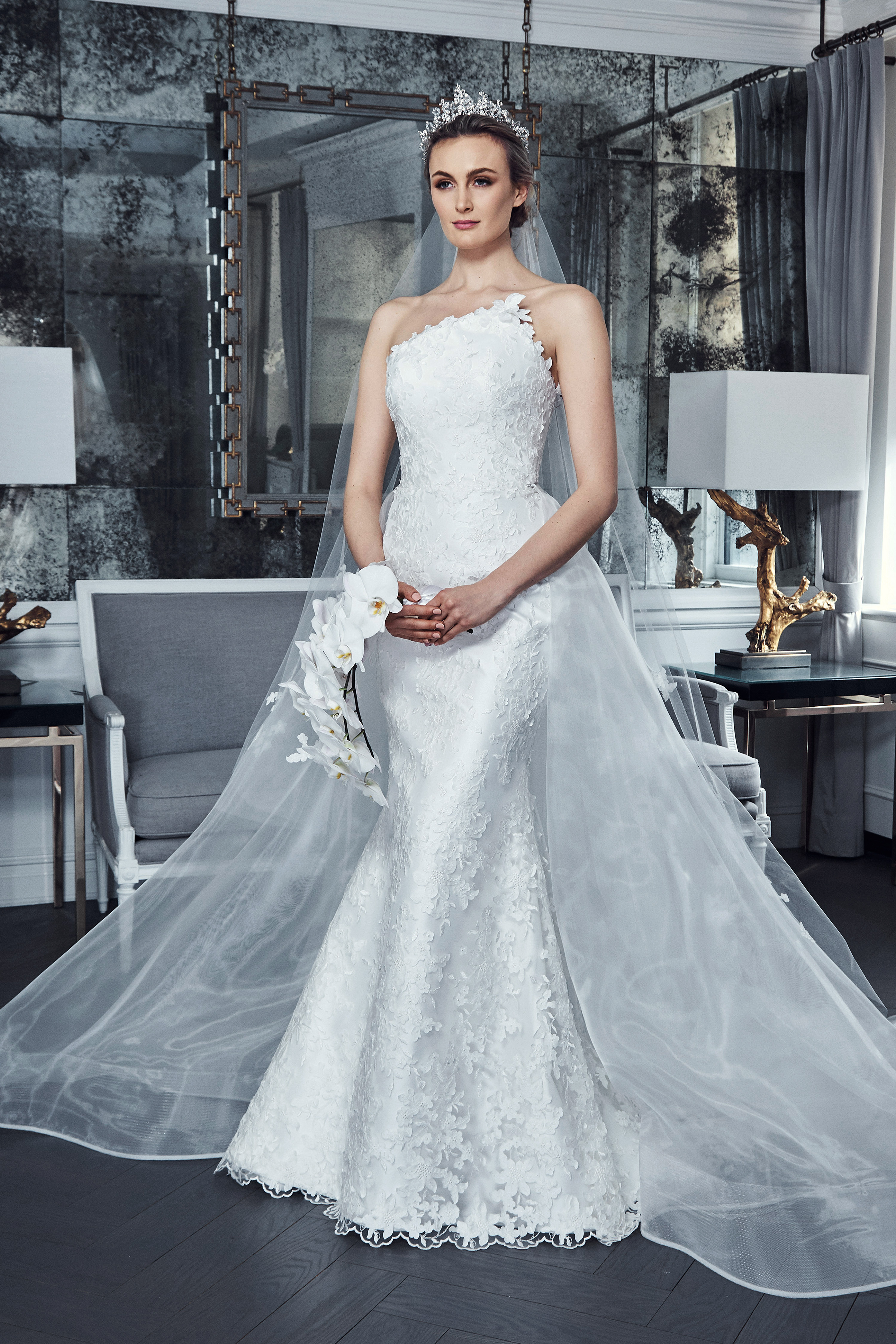 romona keveza collection wedding dress spring 2019 trumpet lace asymmetrical strapless