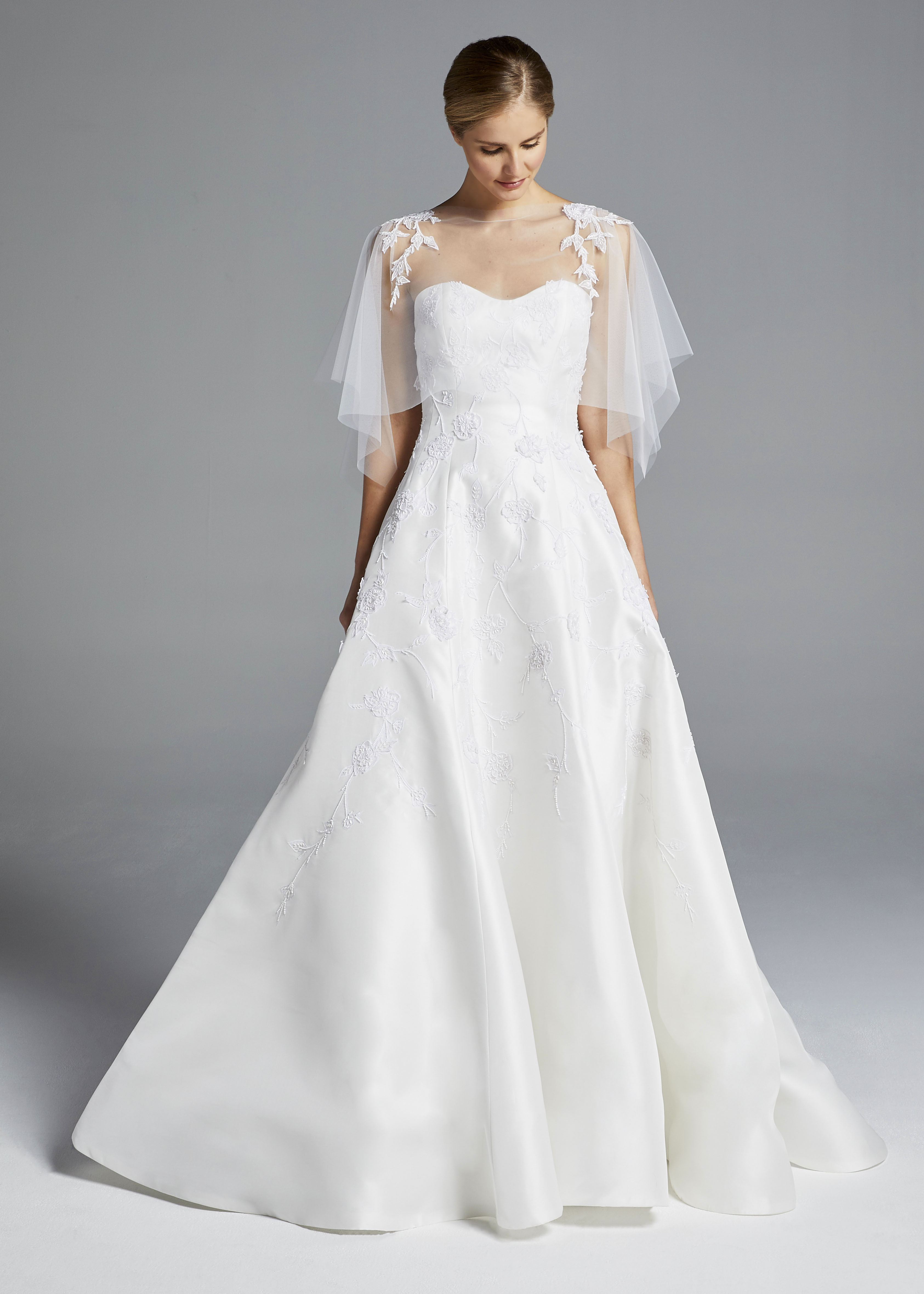 anne barge strapless with cape wedding dress spring 2019
