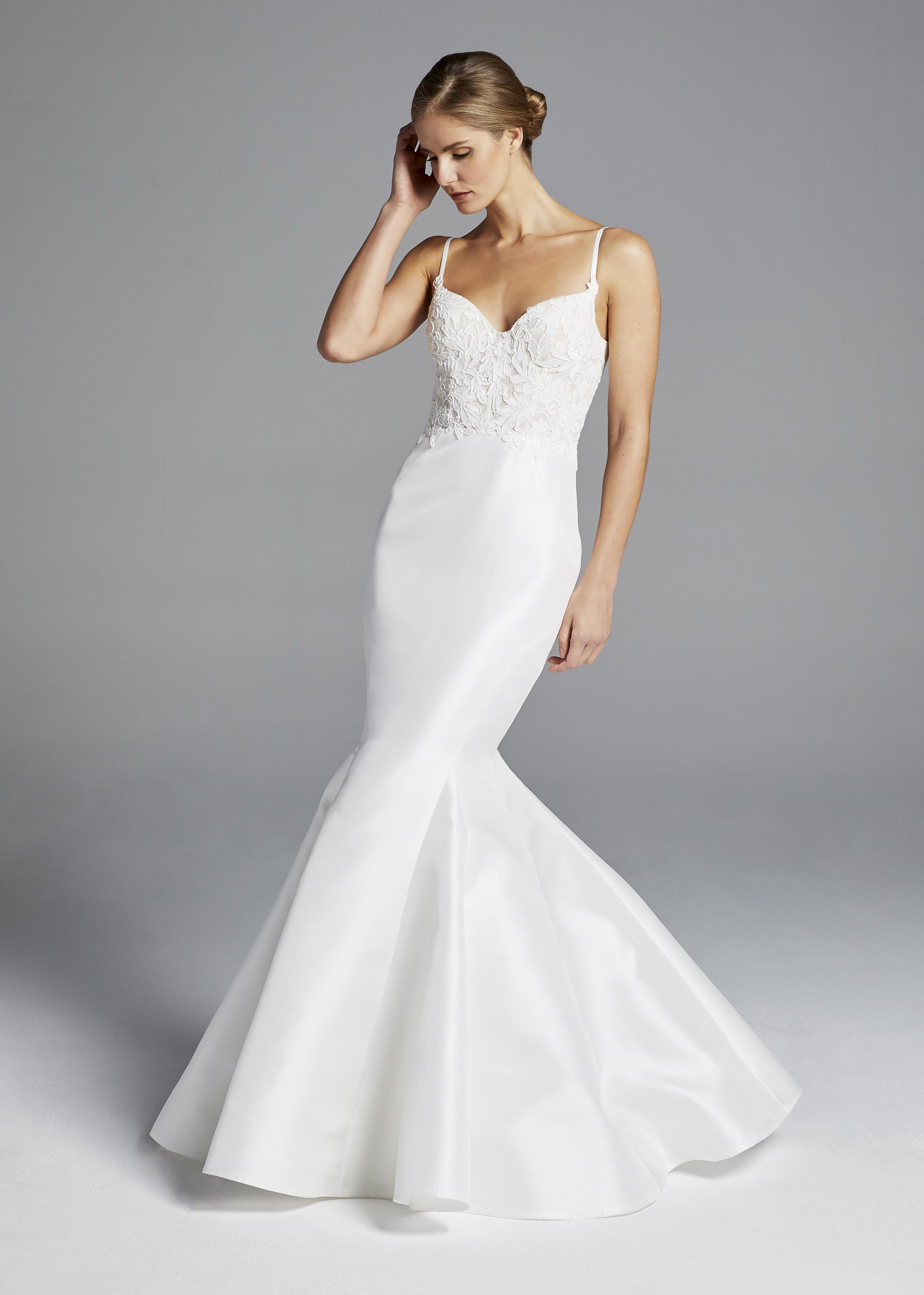 anne barge patterned spaghetti strap mermaid wedding dress spring 2019