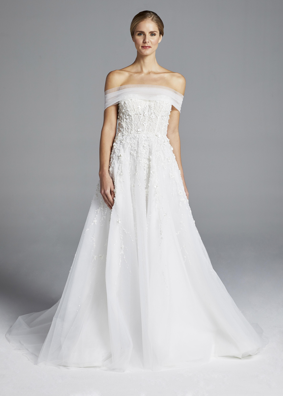 anne barge off the shoulder A-line wedding dress spring 2019