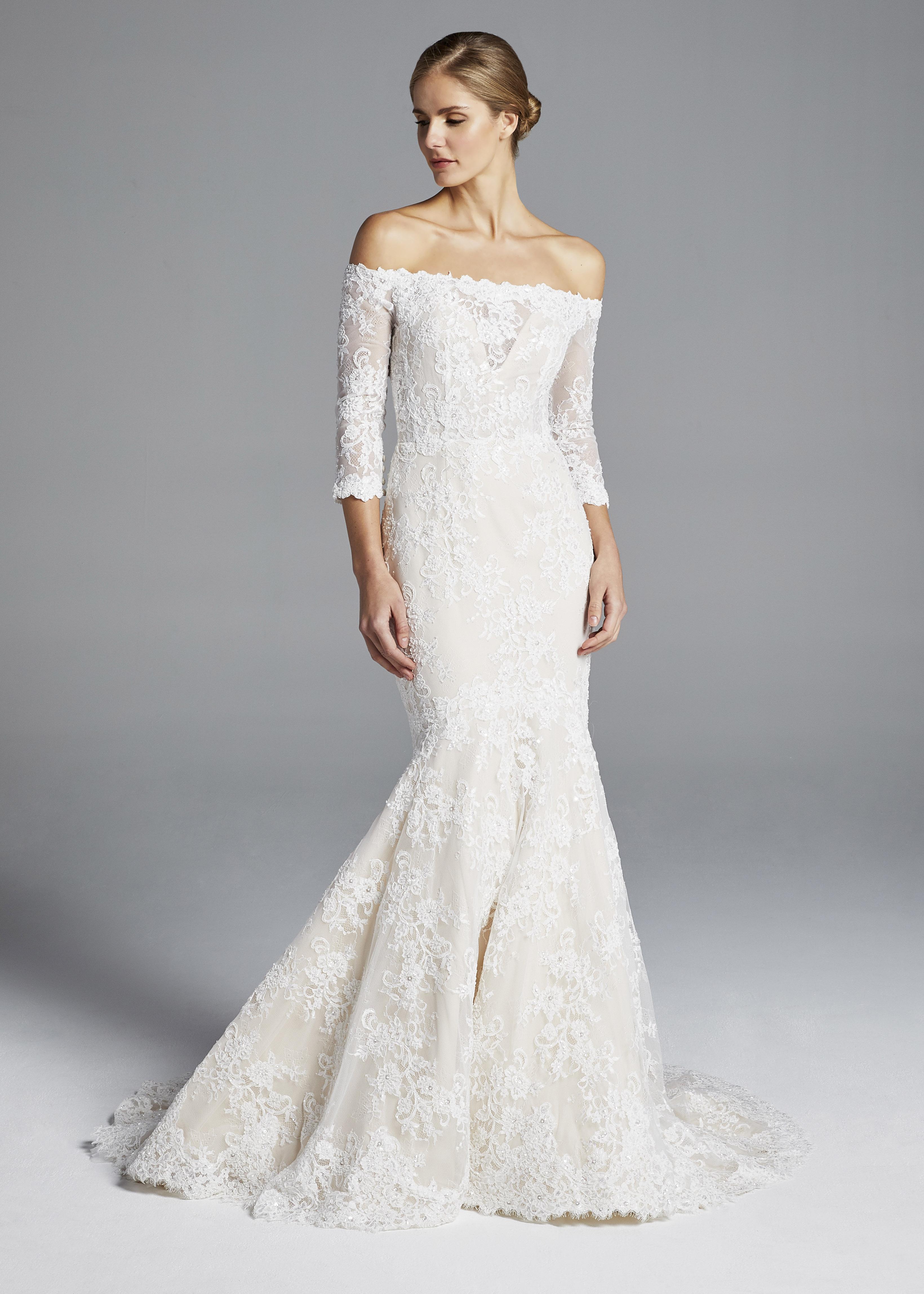 anne barge off the shoulder lace mermaid wedding dress spring 2019