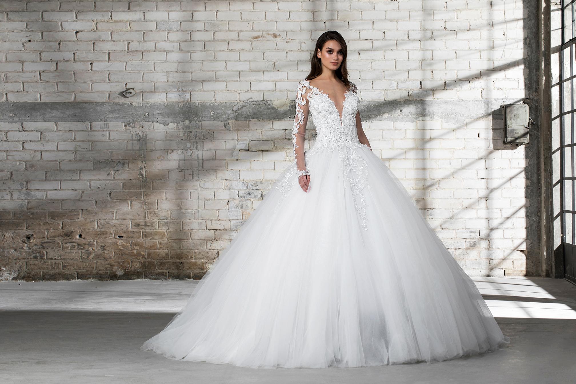 pnina tornai wedding dress spring 2019 ball gown long sleeves deep v