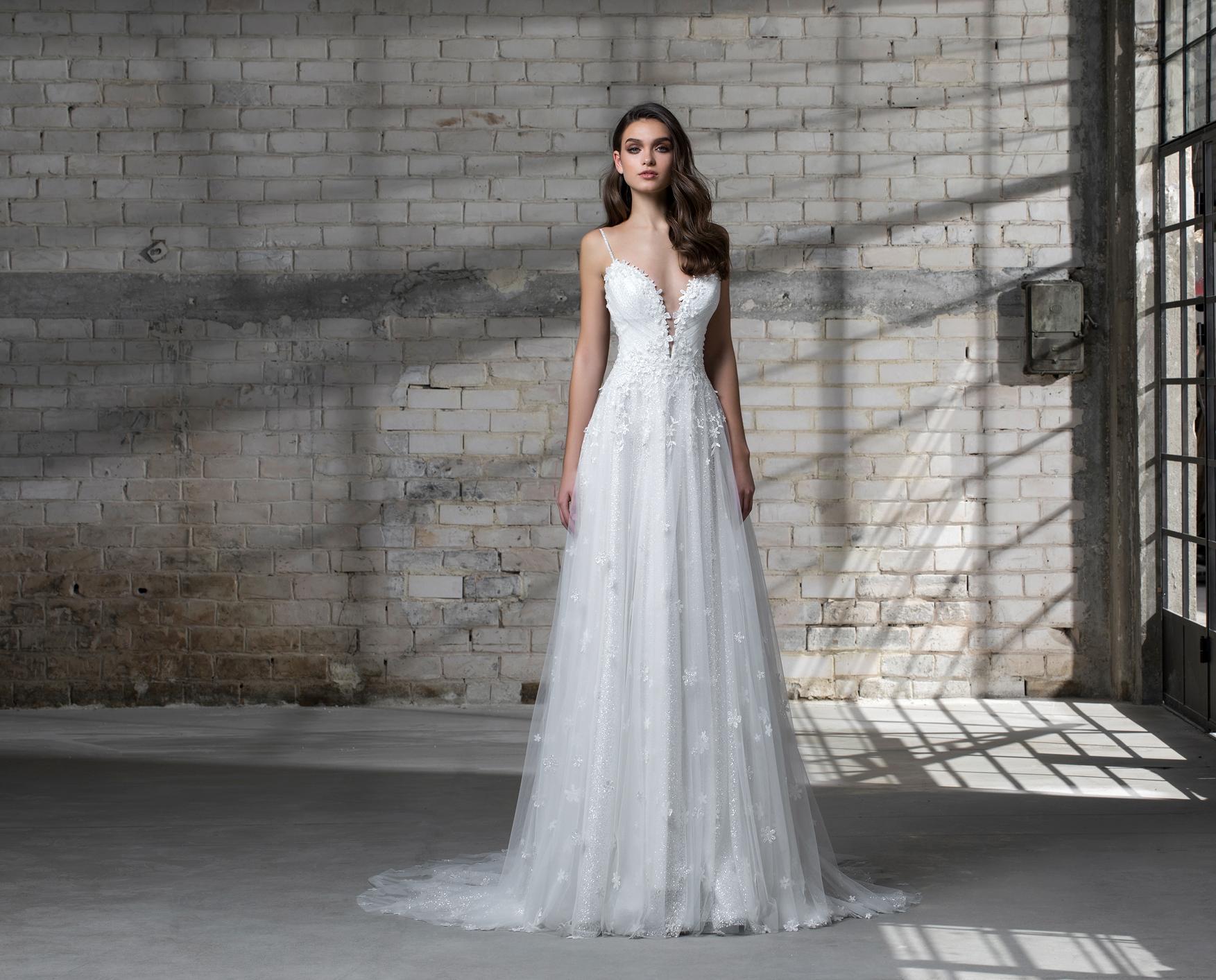 pnina tornai wedding dress spring 2019 spaghetti strap a-line deep v