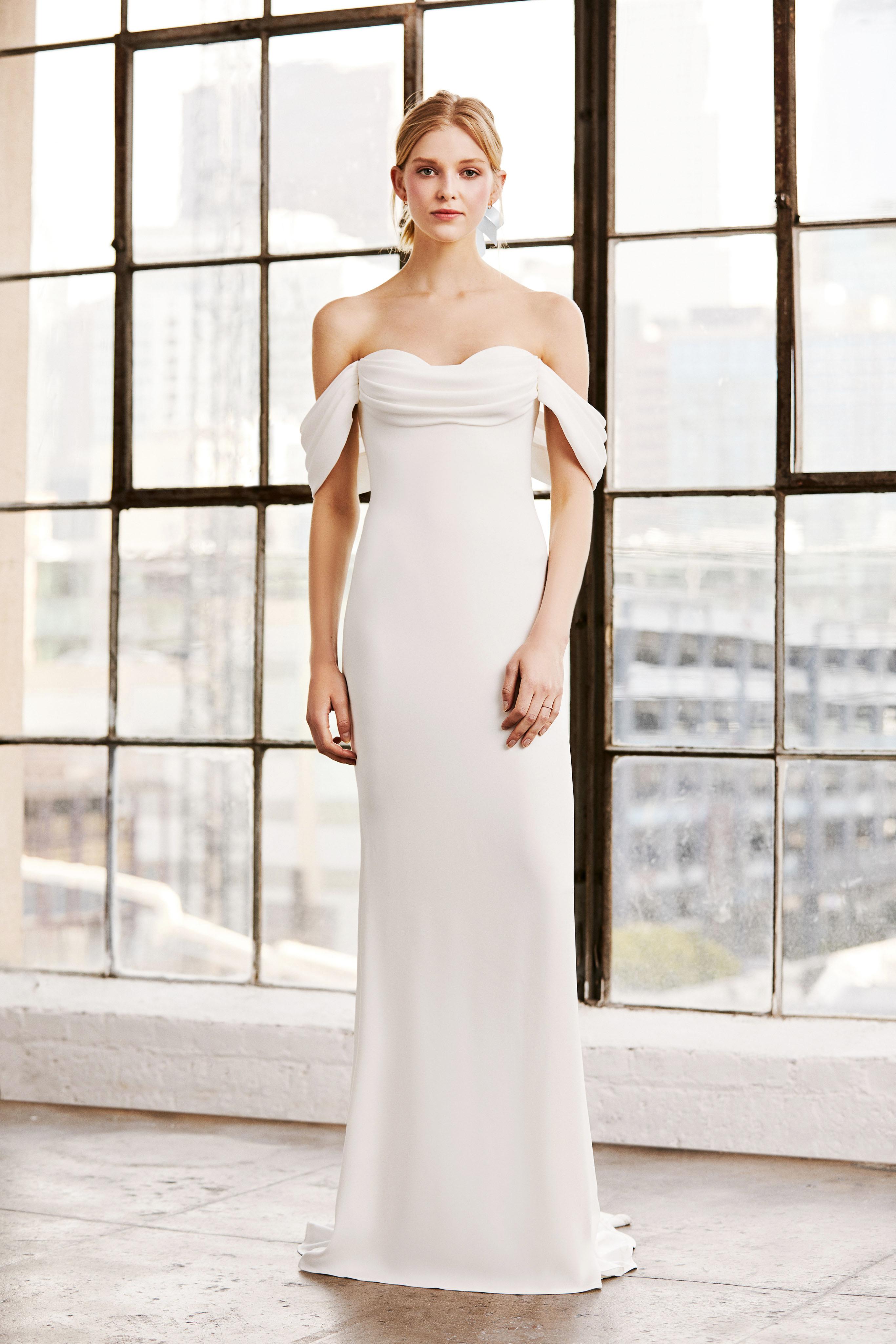 tadashi shoji wedding dress spring 2019 off the shoulder column