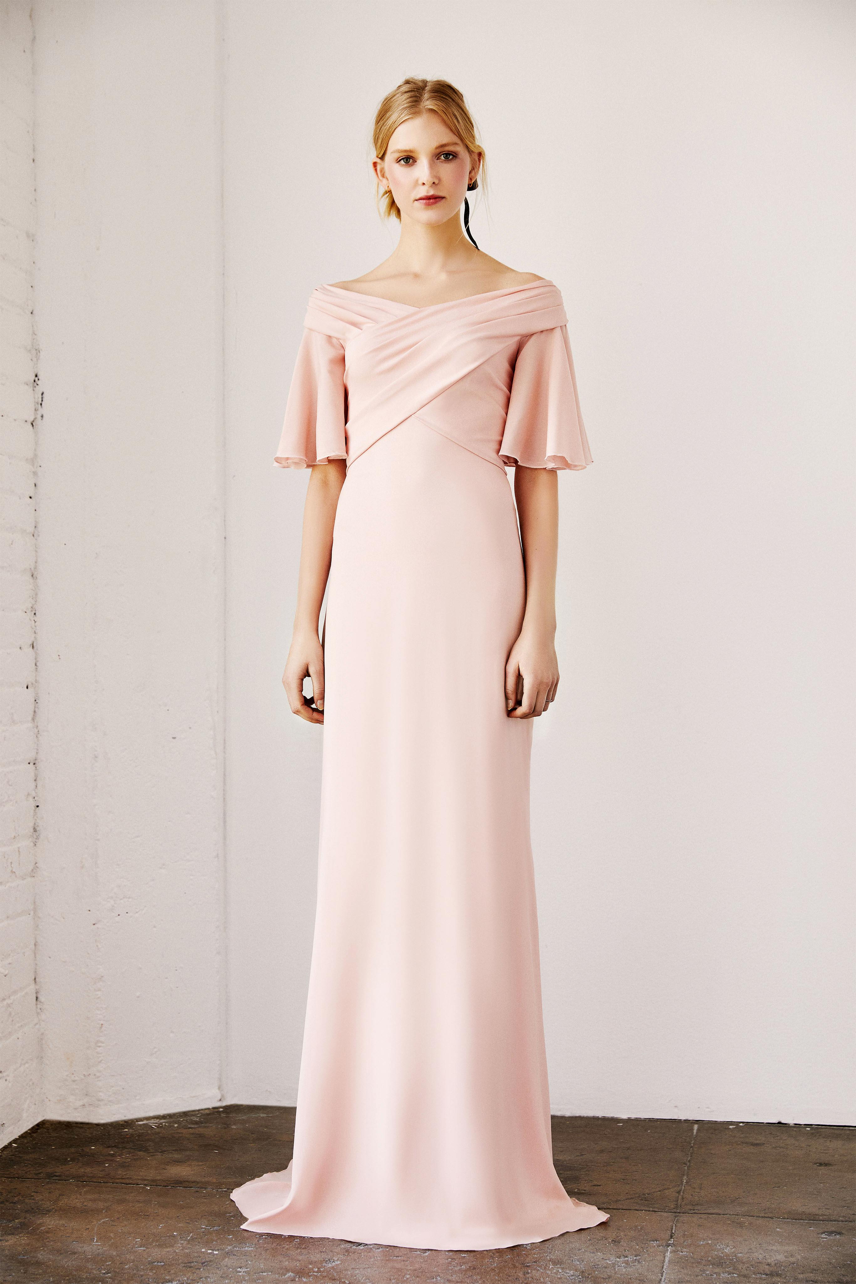 tadashi shoji wedding dress spring 2019 pink elbow length sleeves column