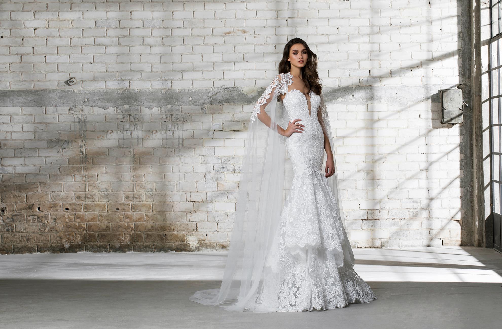 pnina tornai wedding dress spring 2019 lace trumpet cape