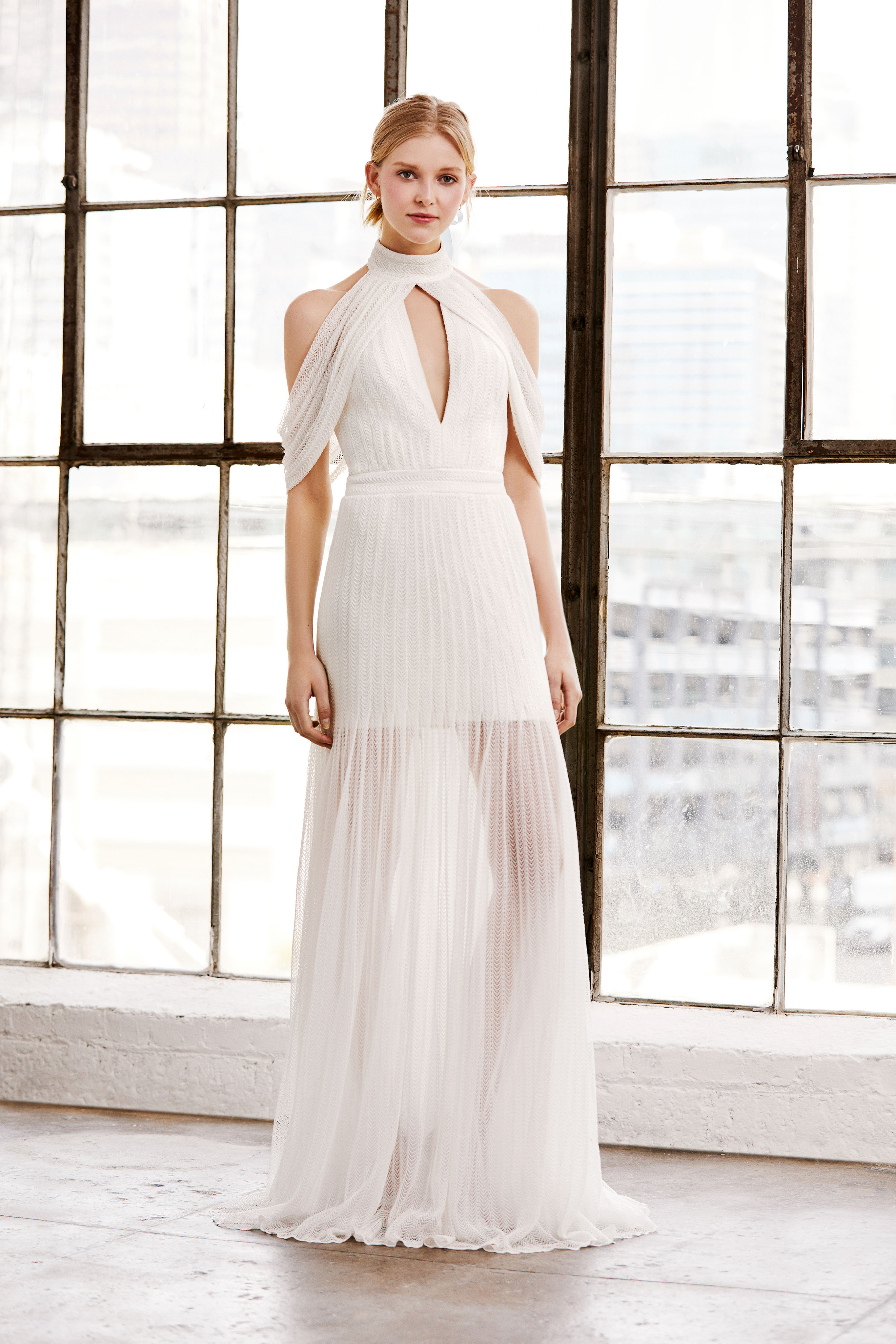 tadashi shoji wedding dress spring 2019 keyhole cold shoulder high neck