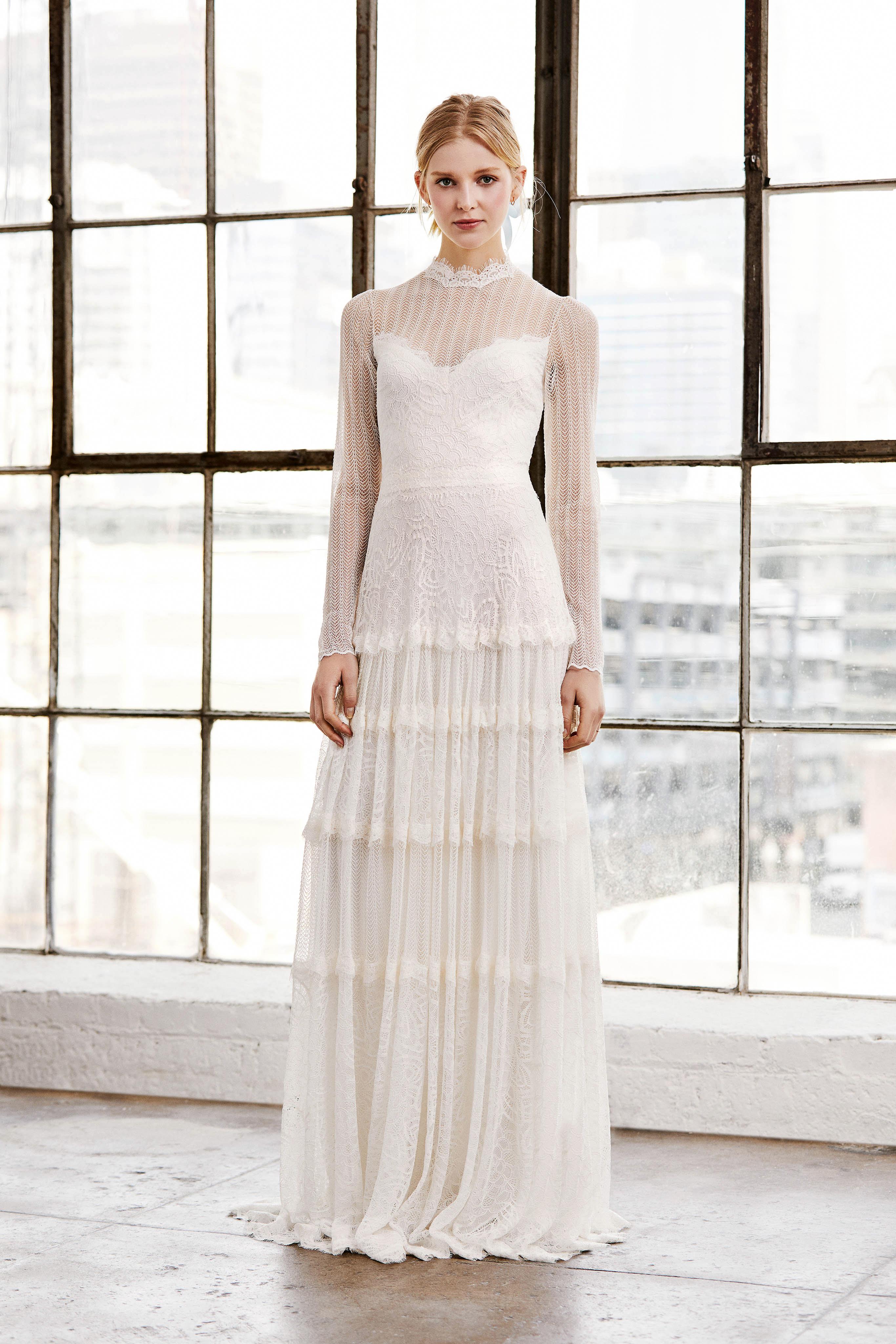 tadashi shoji wedding dress spring 2019 long sleeves illusion tiers