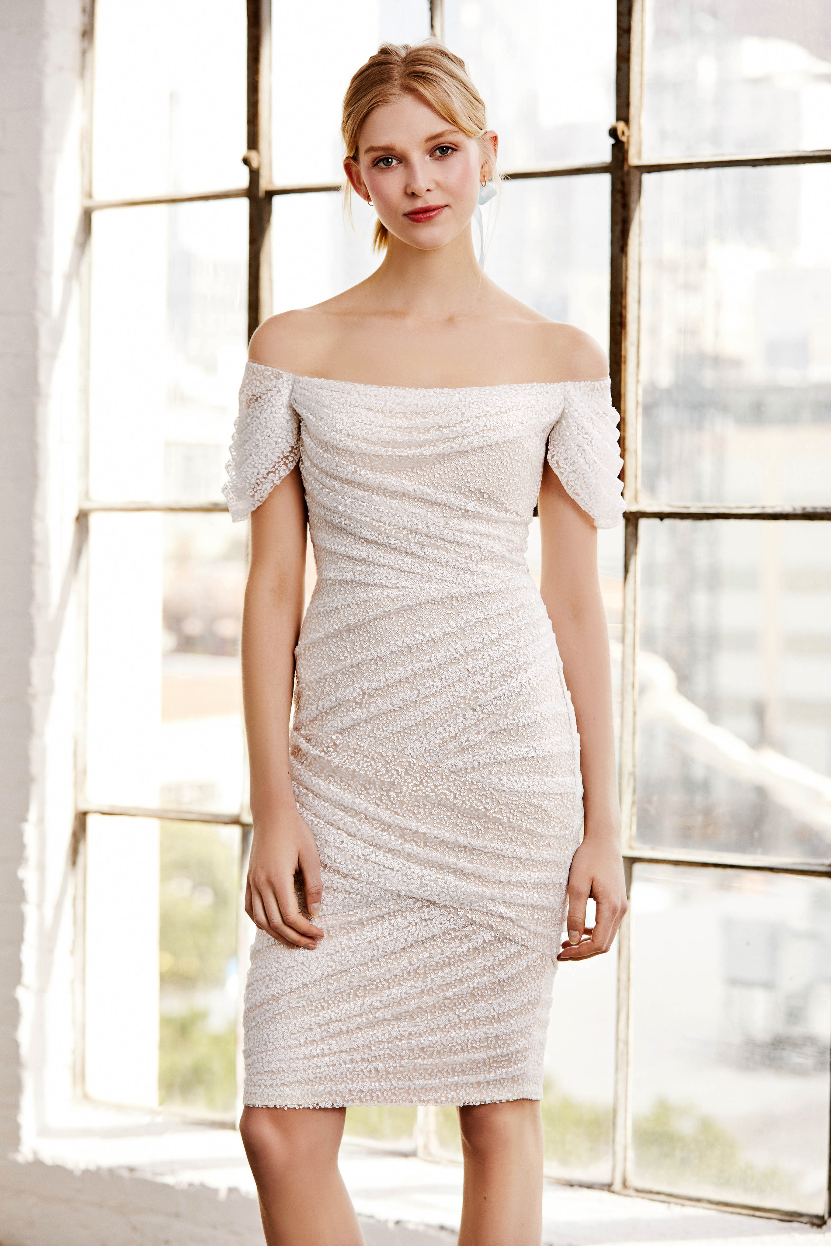 tadashi shoji wedding dress spring 2019 off the shoulder short ruching
