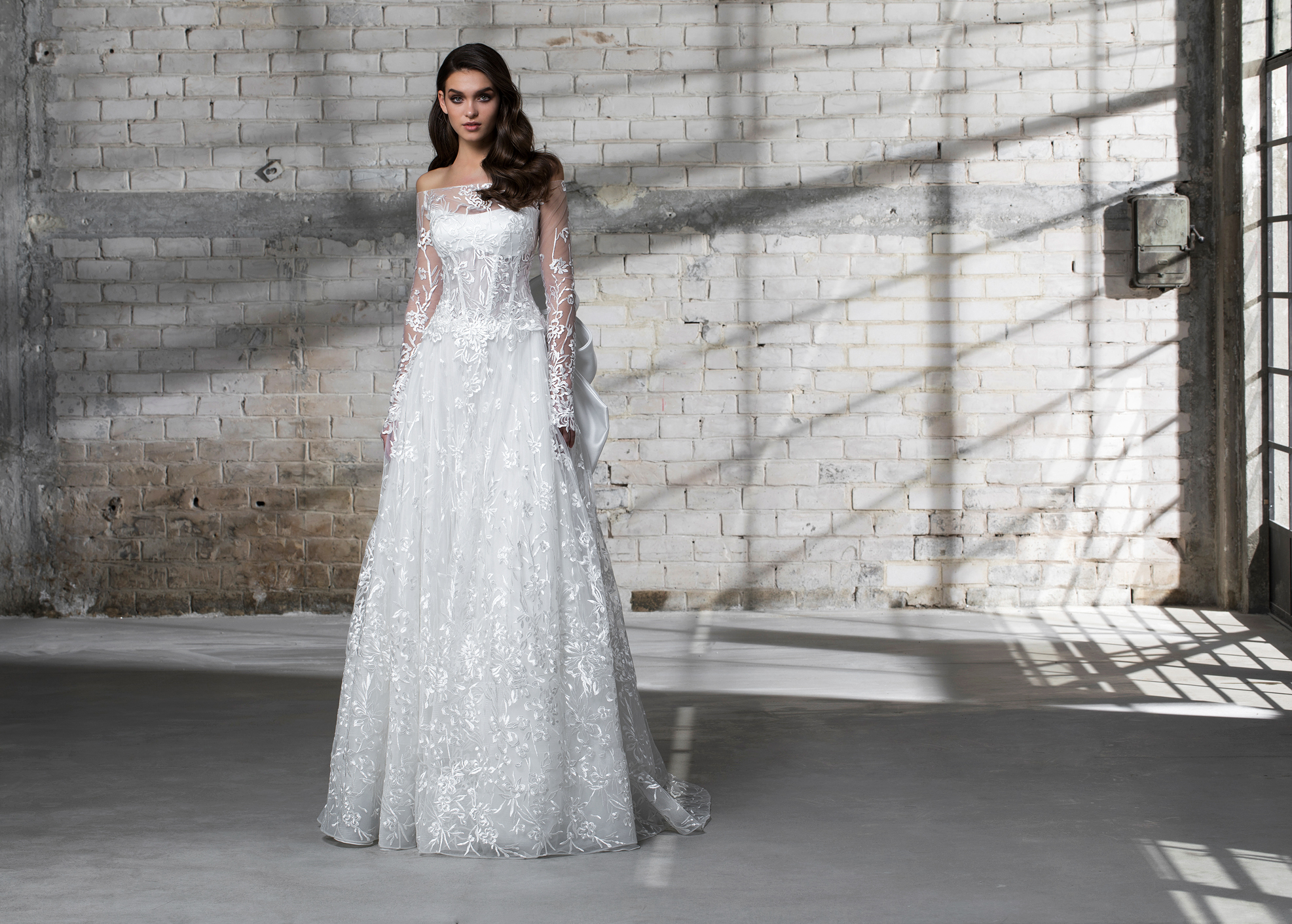 pnina tornai wedding dress spring 2019 off the shoulder long sleeves a-line