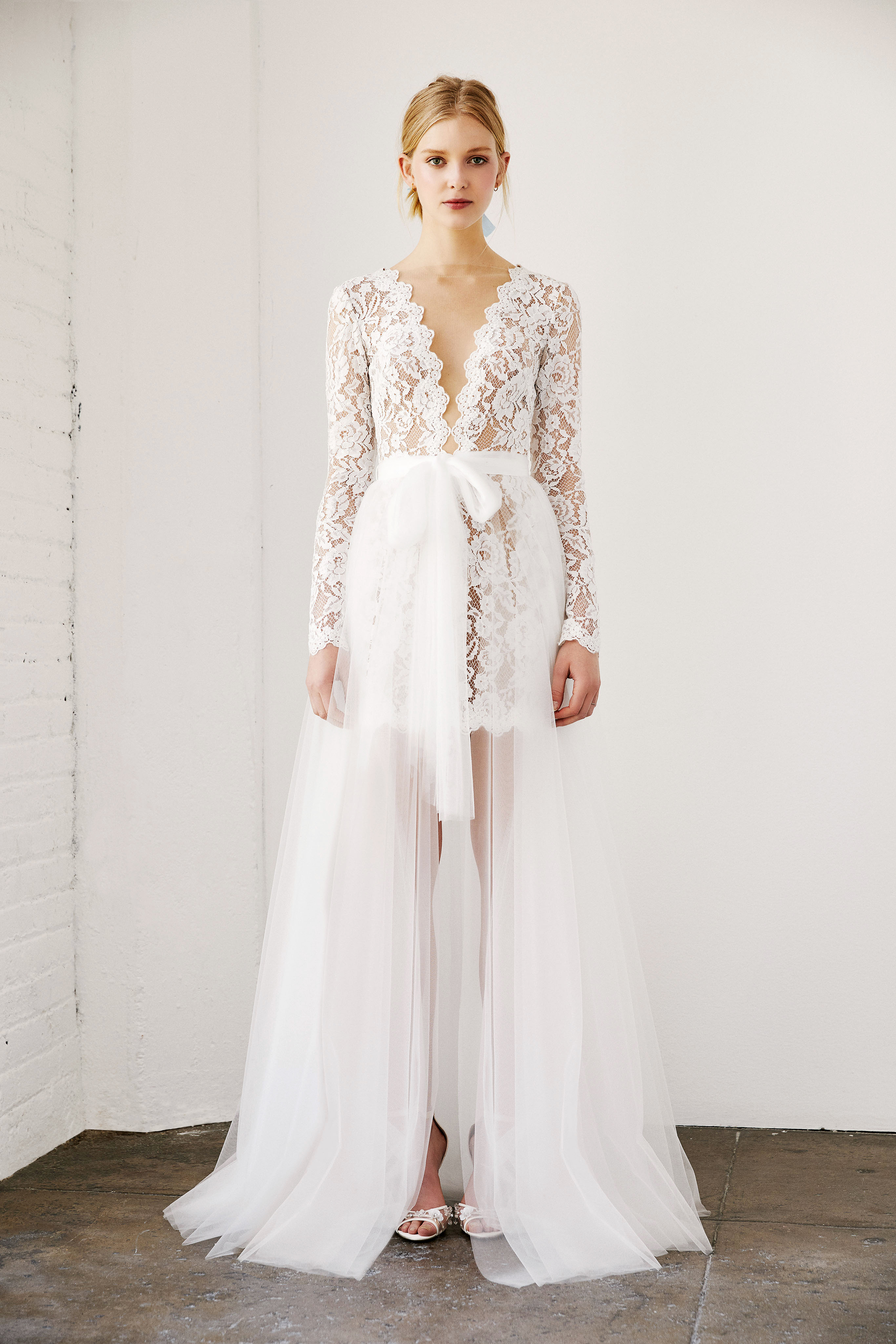 tadashi shoji wedding dress spring 2019 deep v long sleeves lace layered skirt