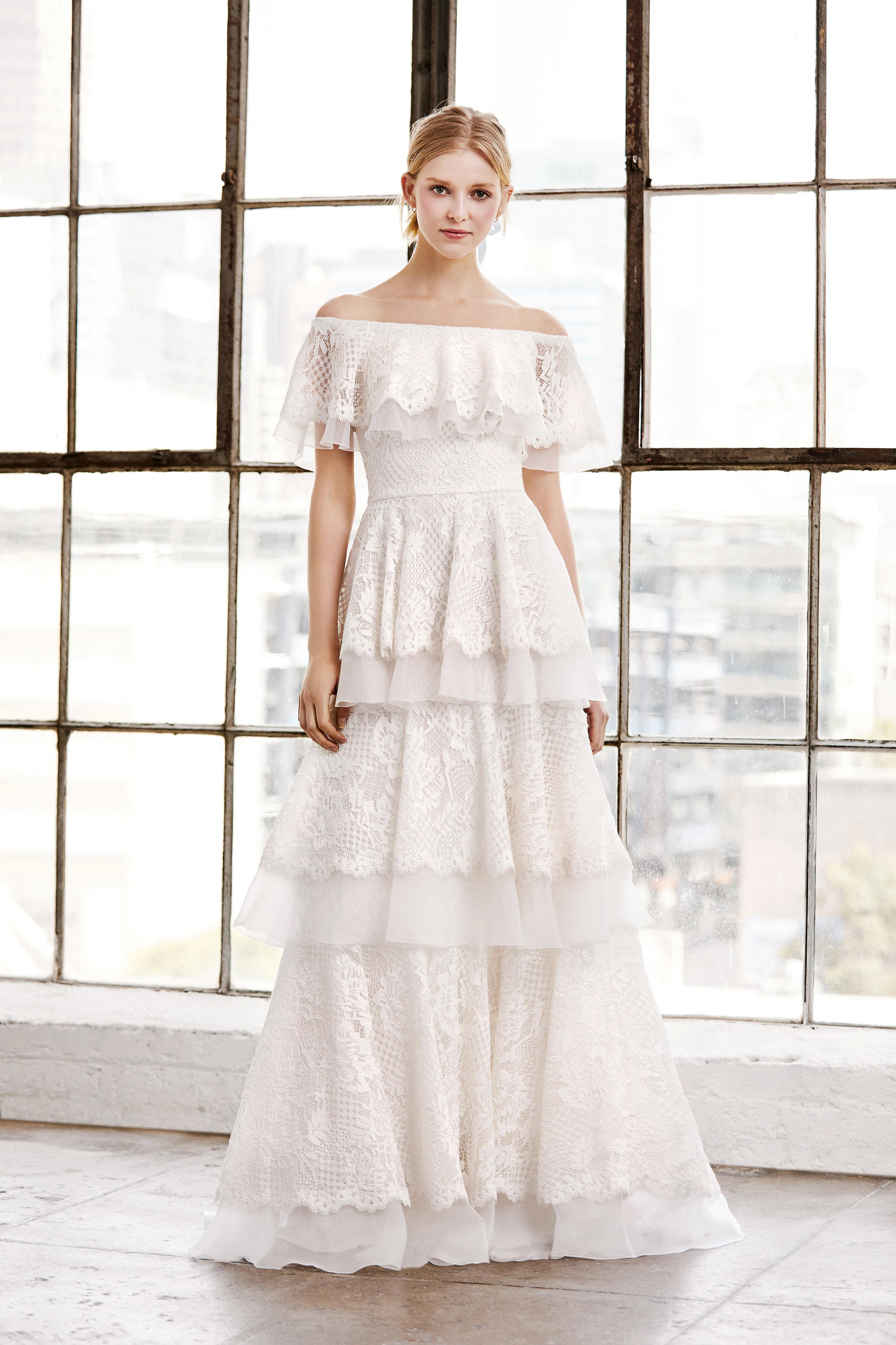 tadashi shoji wedding dress spring 2019 off the shoulder lace tiers