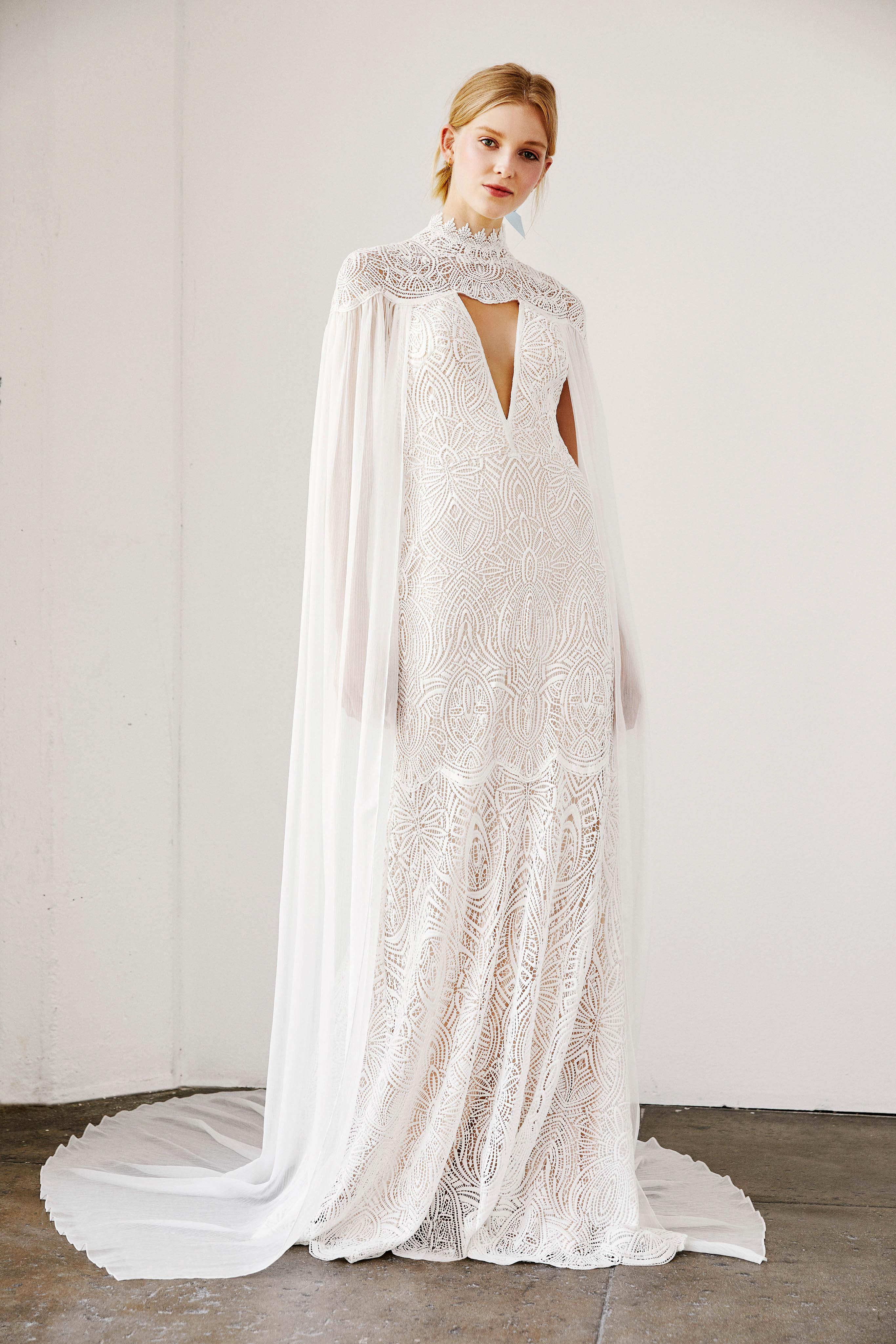 tadashi shoji wedding dress spring 2019 cutout cape sheath