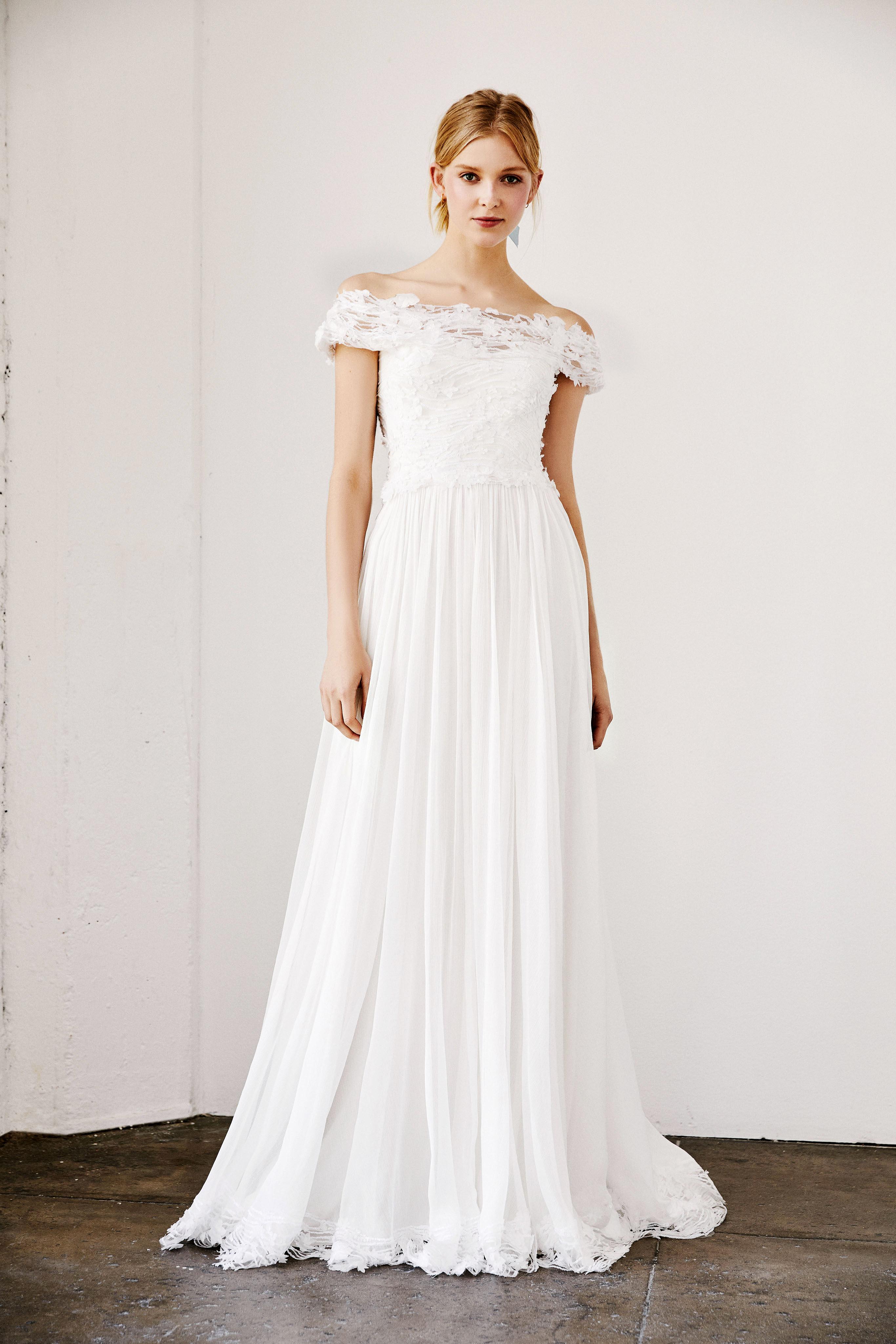 tadashi shoji wedding dress spring 2019 off the shoulder a-line