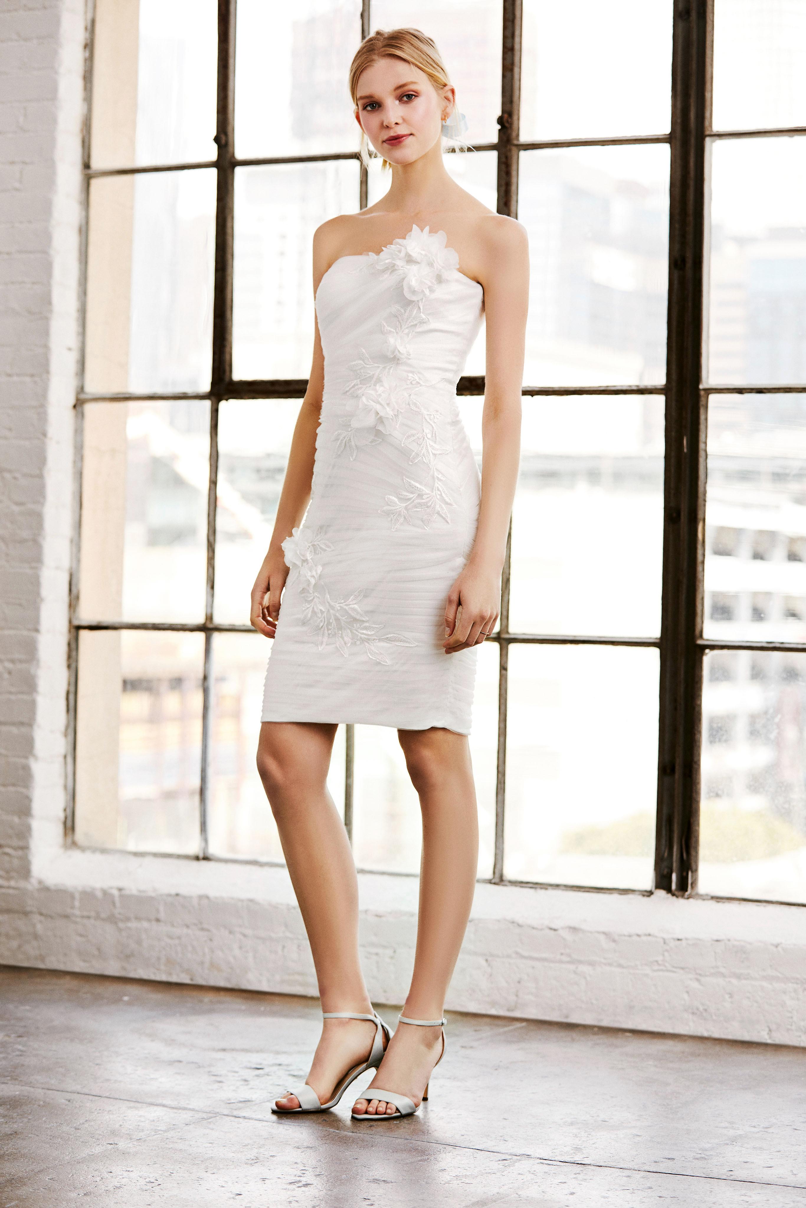tadashi shoji wedding dress spring 2019 short floral applique strapless