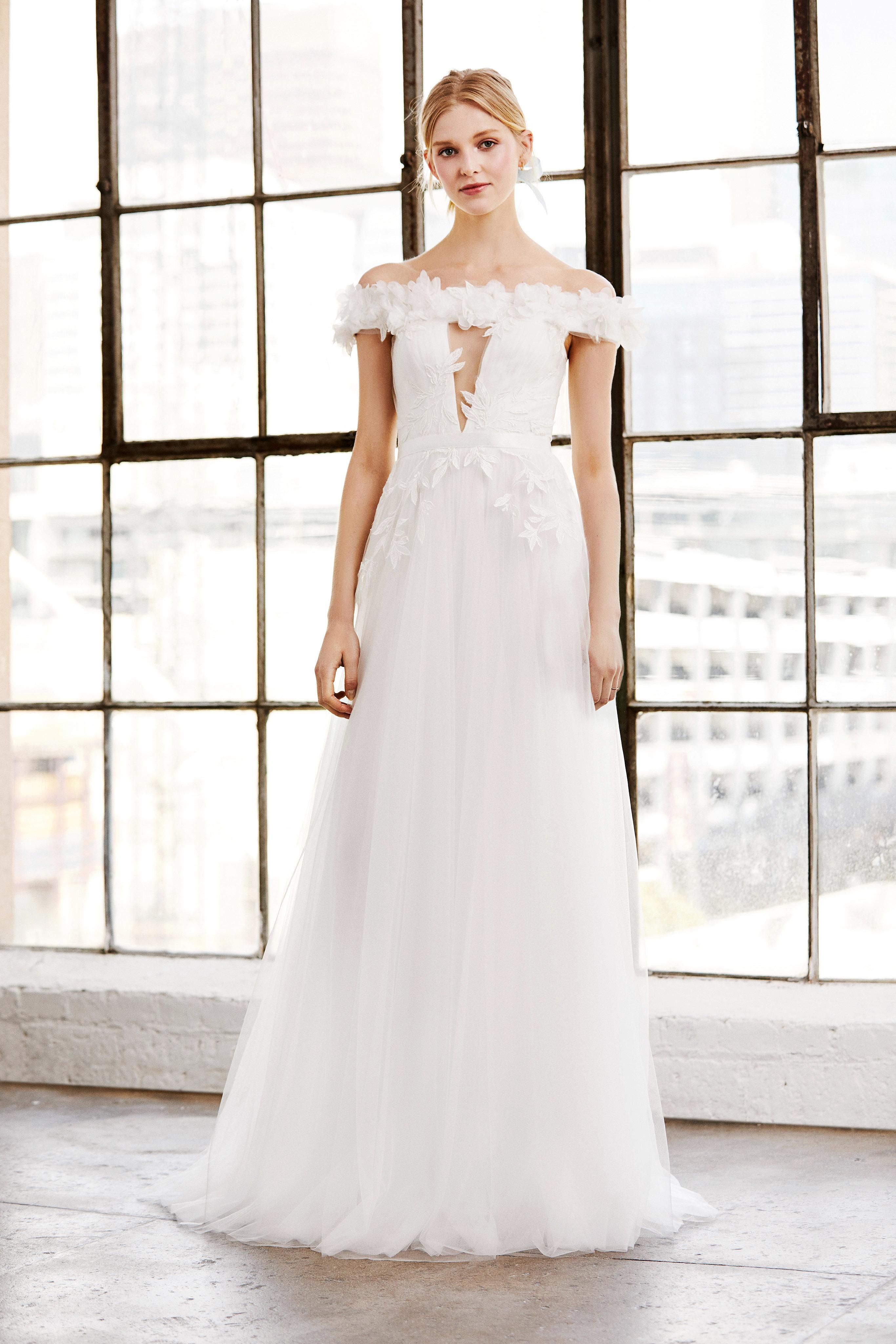 tadashi shoji wedding dress spring 2019 off the shoulder cutout a-line
