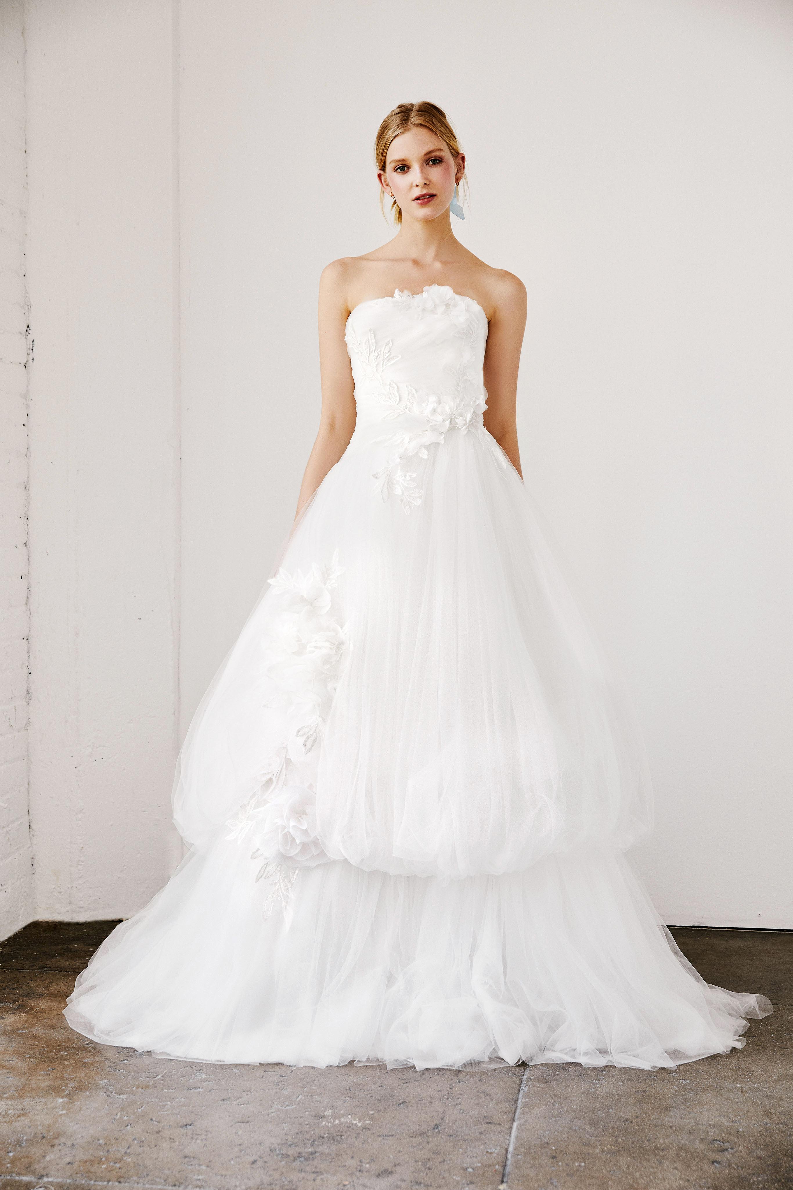 tadashi shoji wedding dress spring 2019 strapless tulle floral applique