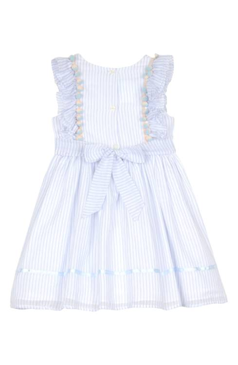 blue and white flower girl dress