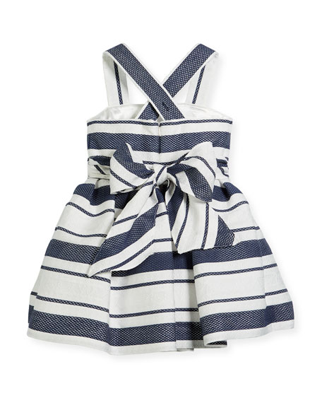 blue white stripped flower girl dress