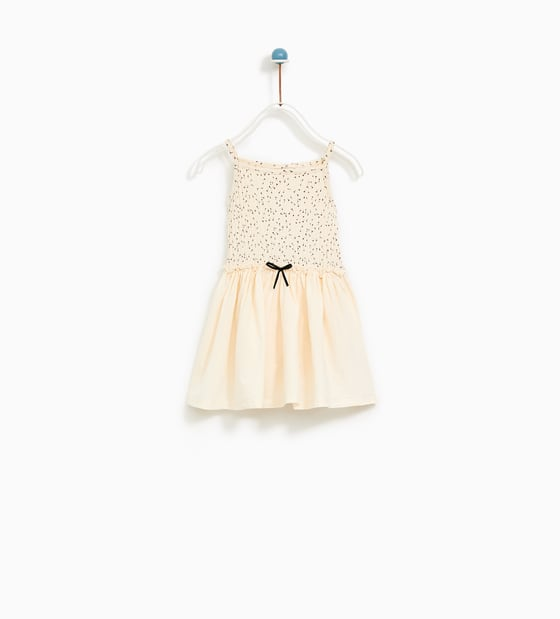 White Zara Dress with Black Bow for Flower Girl