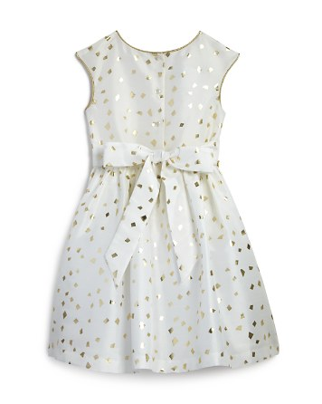 white and gold flower girl dress