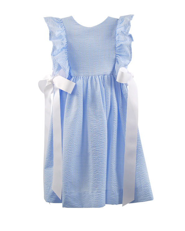 blue flower girl dress white bow