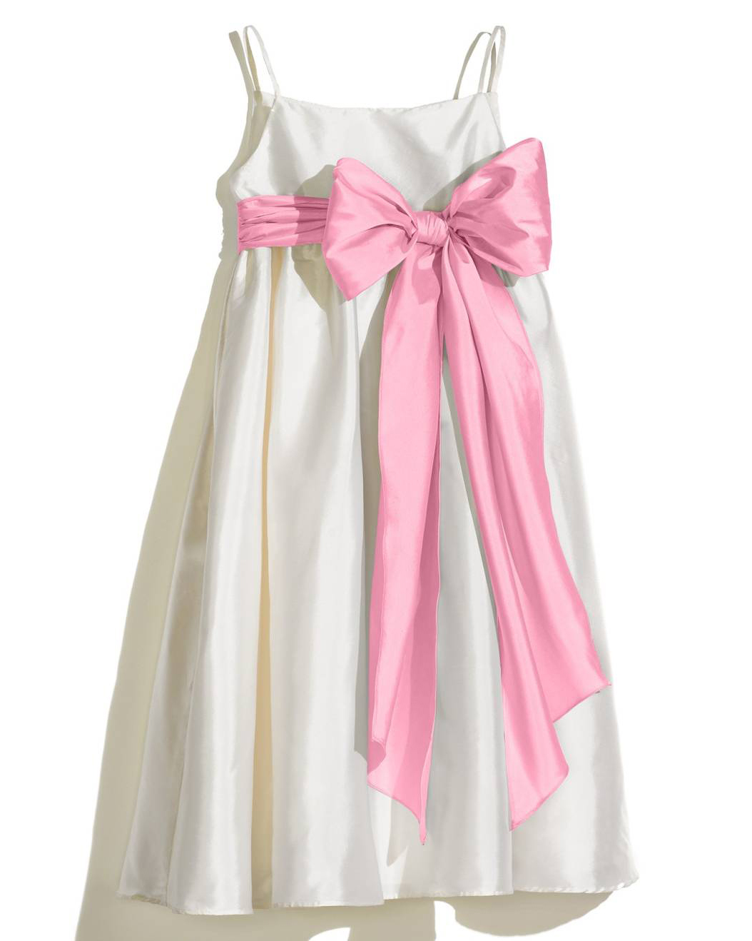 white flower girl dress pink bow