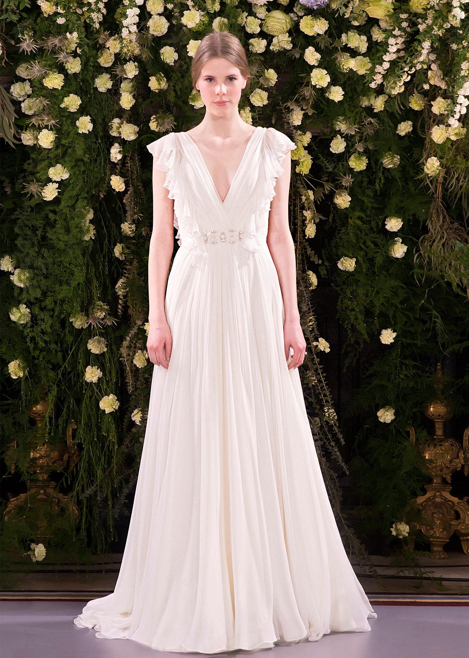 jenny packham wedding dress spring 2019 gathered v-neck with flutter sleeves