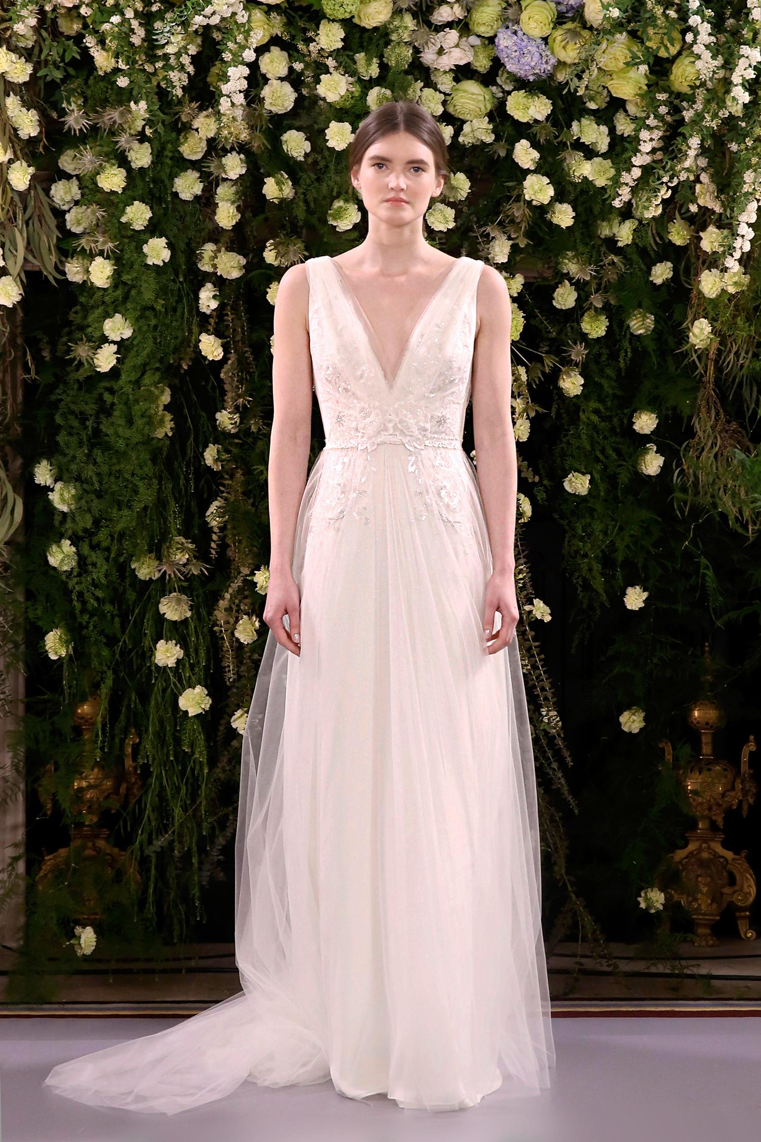 jenny packham wedding dress spring 2019 v-neck with tulle