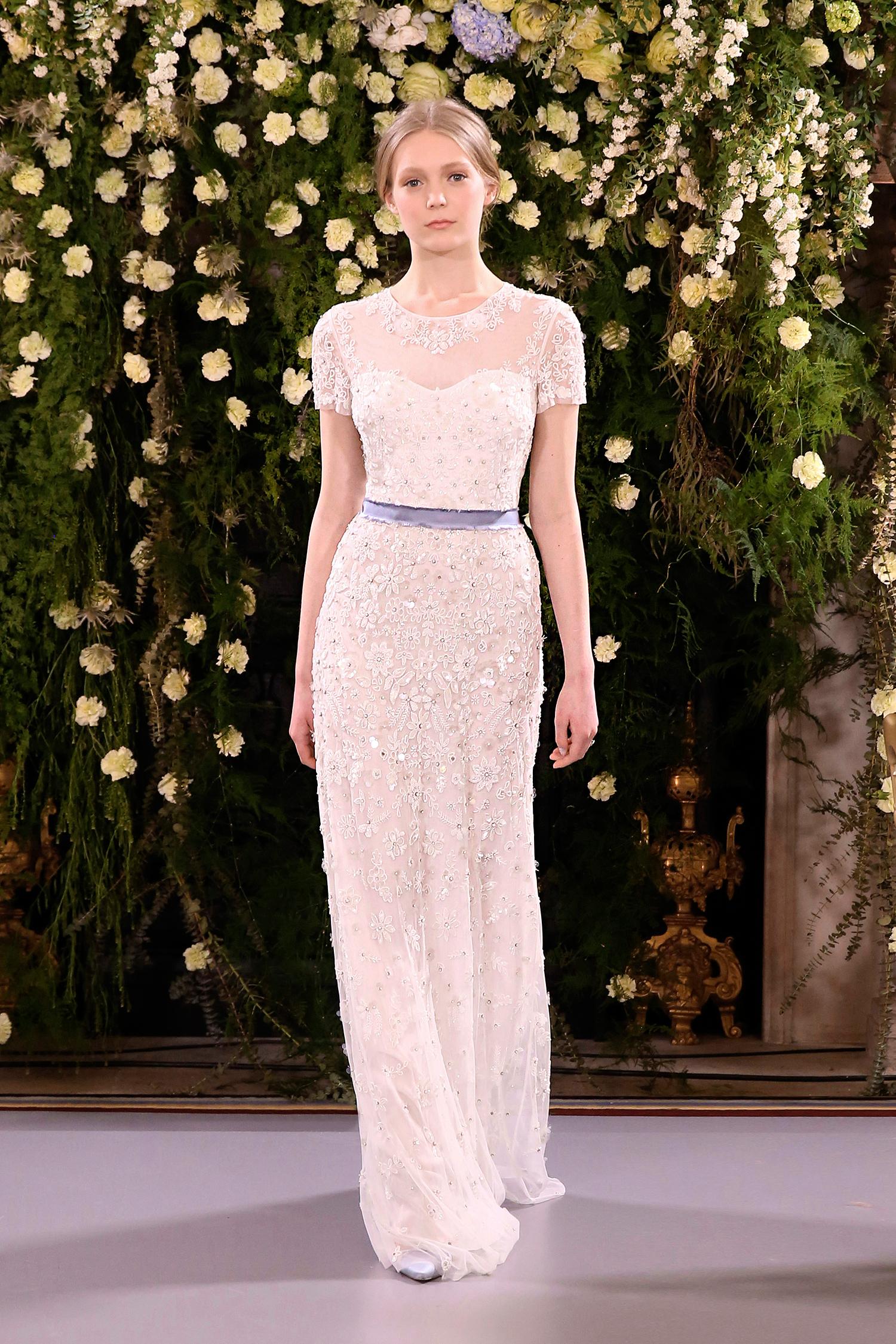 jenny packham wedding dress spring 2019 short-sleeve belted sheath