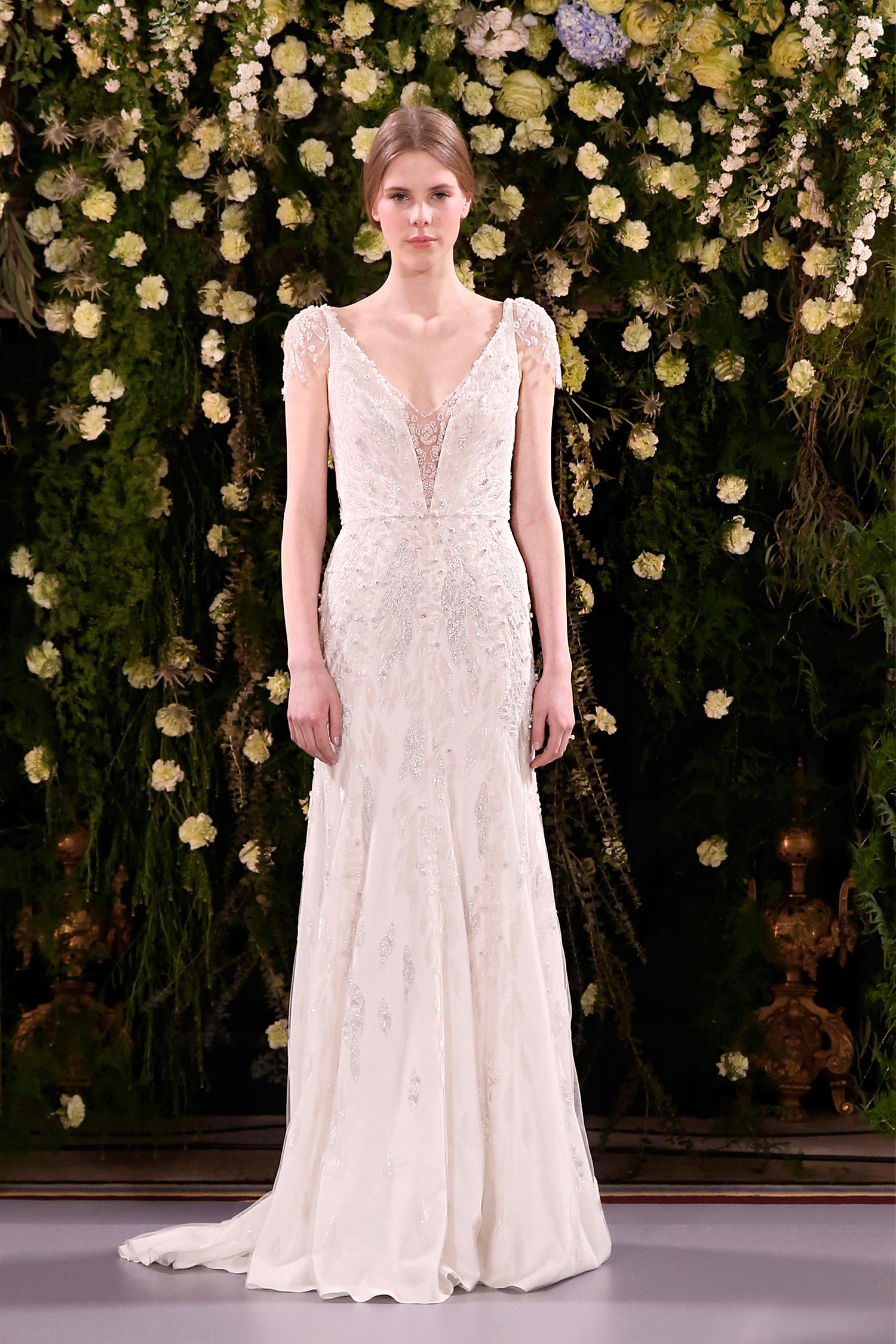 jenny packham wedding dress spring 2019 deep v-neck embellished sleeves