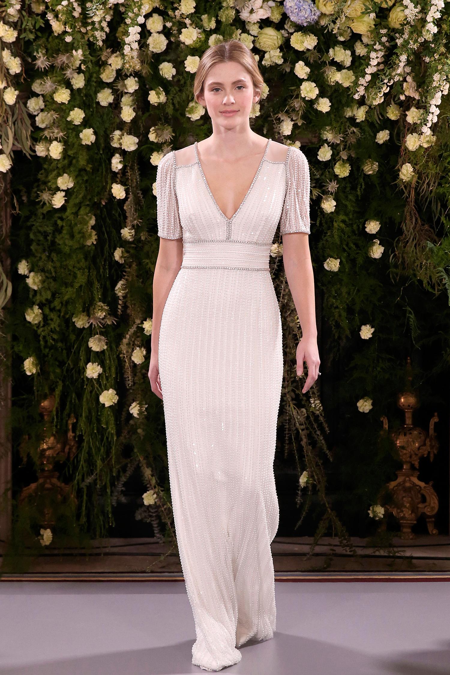 jenny packham wedding dress spring 2019 v-neck sheath with beadwork