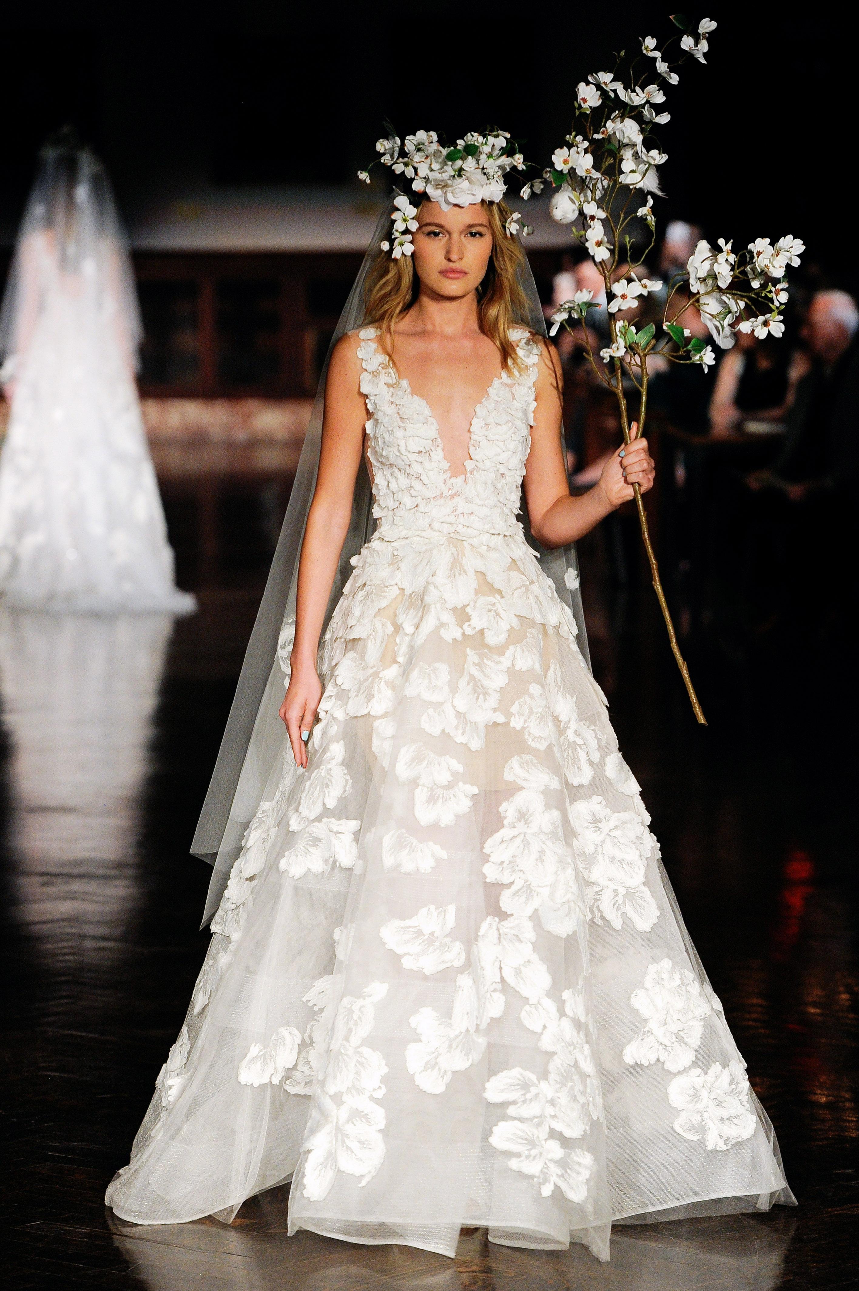 reem acra wedding dress spring 2019 v-neck a-line