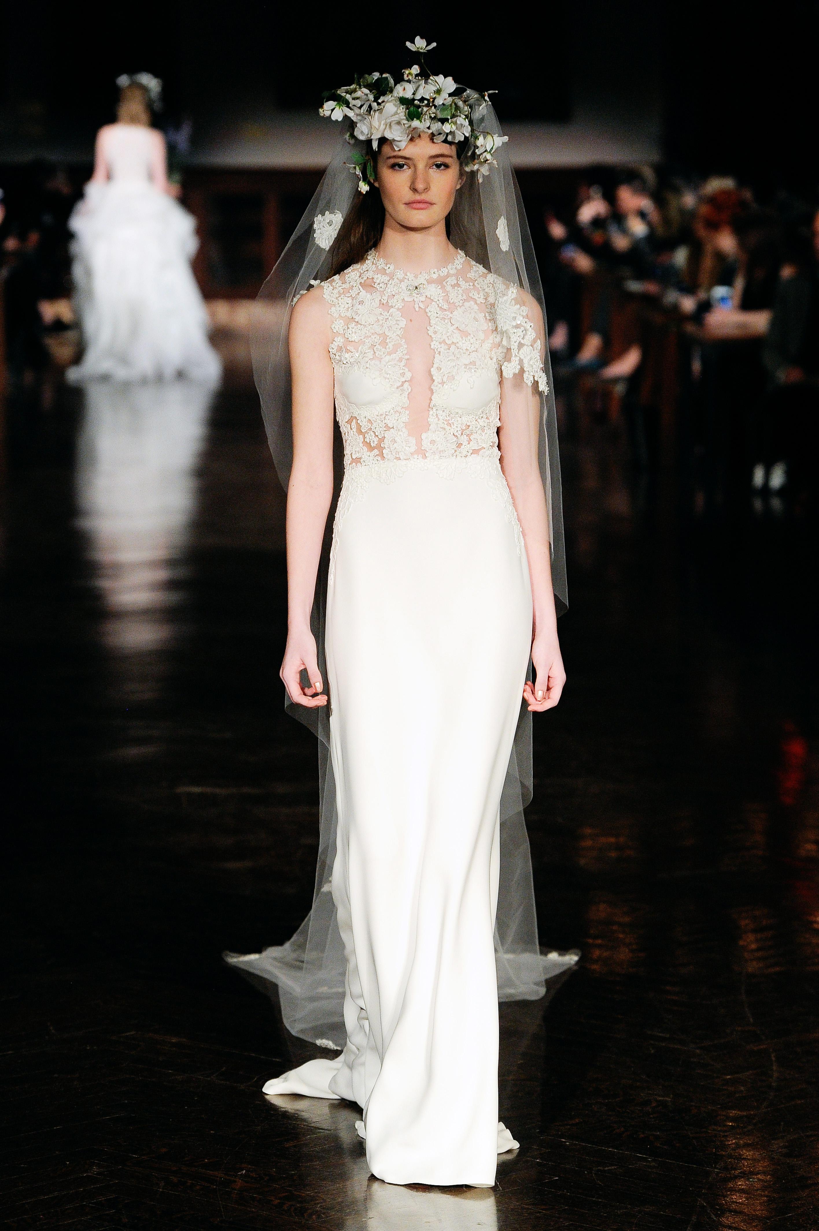 reem acra wedding dress spring 2019 sheath sleeveless keyhole