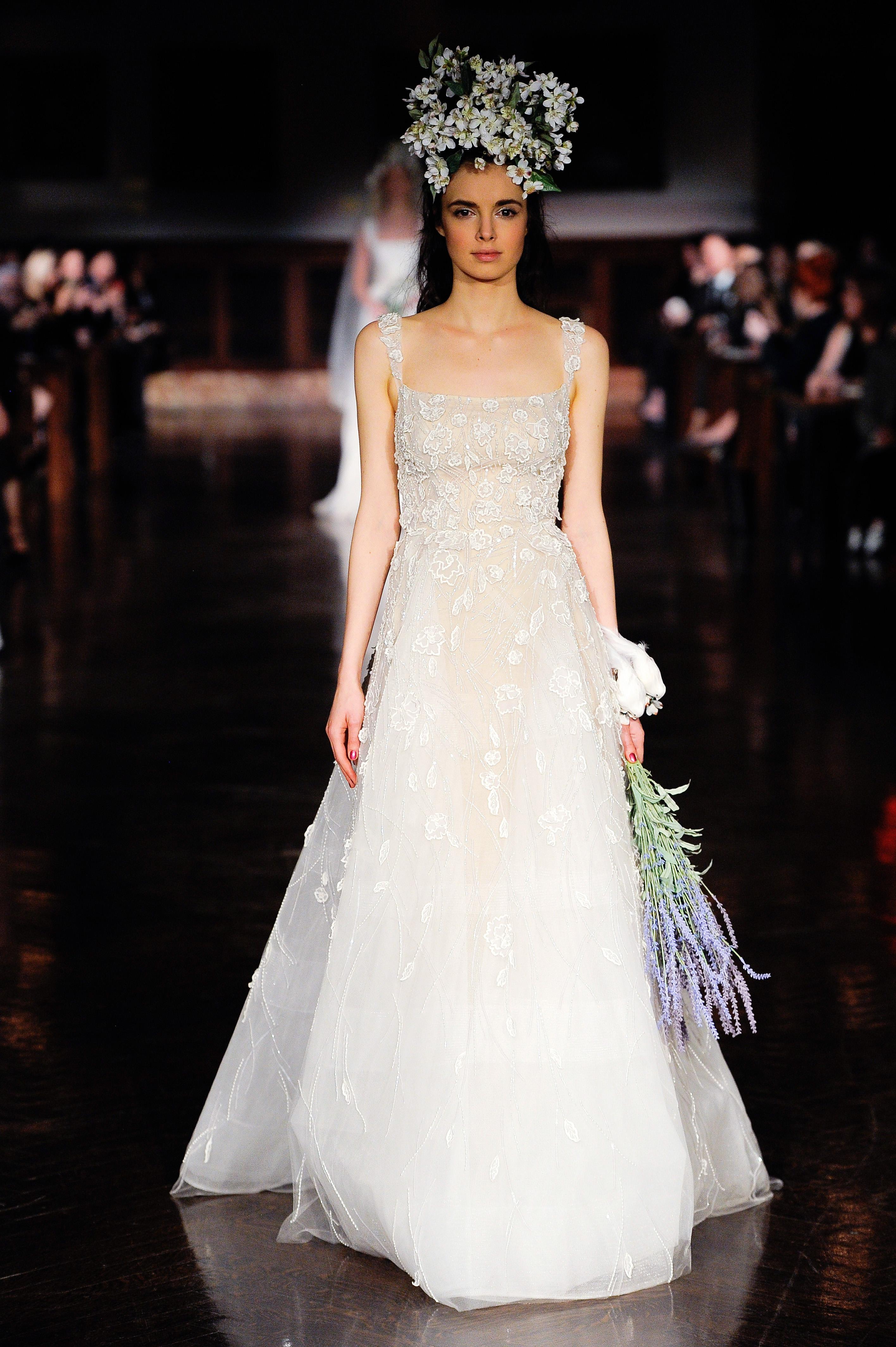 reem acra wedding dress spring 2019 square neck a-line lace