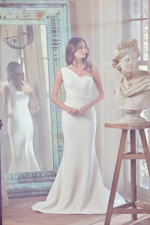 sareh nouri wedding dress spring 2019 minimalist one shoulder mermaid gown