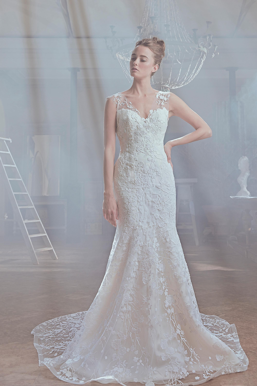 sareh nouri wedding dress spring 2019 floral lace sheer shoulder mermaid