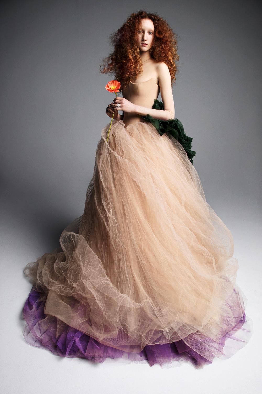vera wang wedding dress spring 2019 purple tan tulle strapless