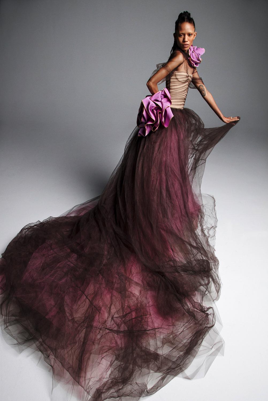 vera wang wedding dress spring 2019 purple burgandy tulle strapless ball gown