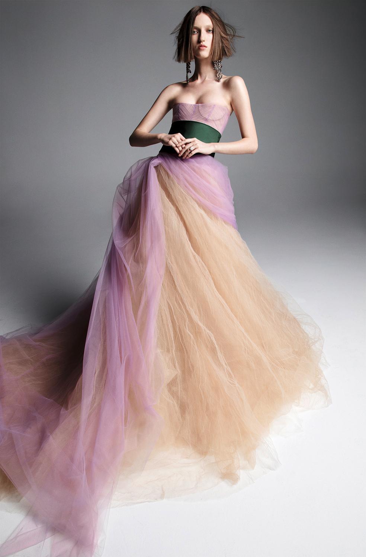 vera wang wedding dress spring 2019 purple tan strapless ball gown