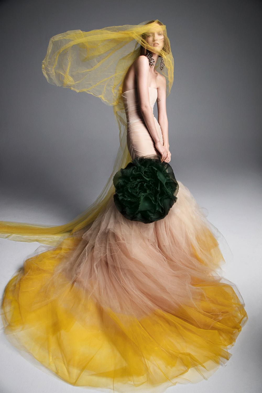 vera wang wedding dress spring 2019 yellow tan mermaid green flower