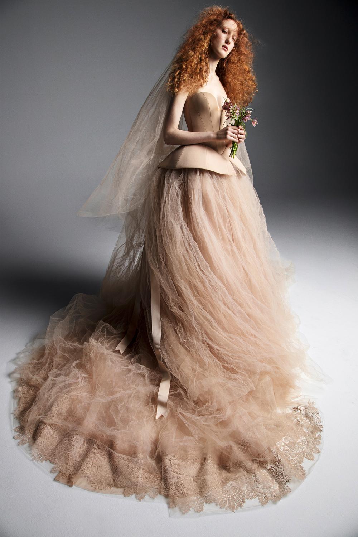 vera wang wedding dress spring 2019 tan sweet heart ball gown
