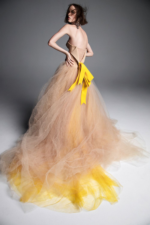 vera wang wedding dress spring 2019 tan yellow strapless bow