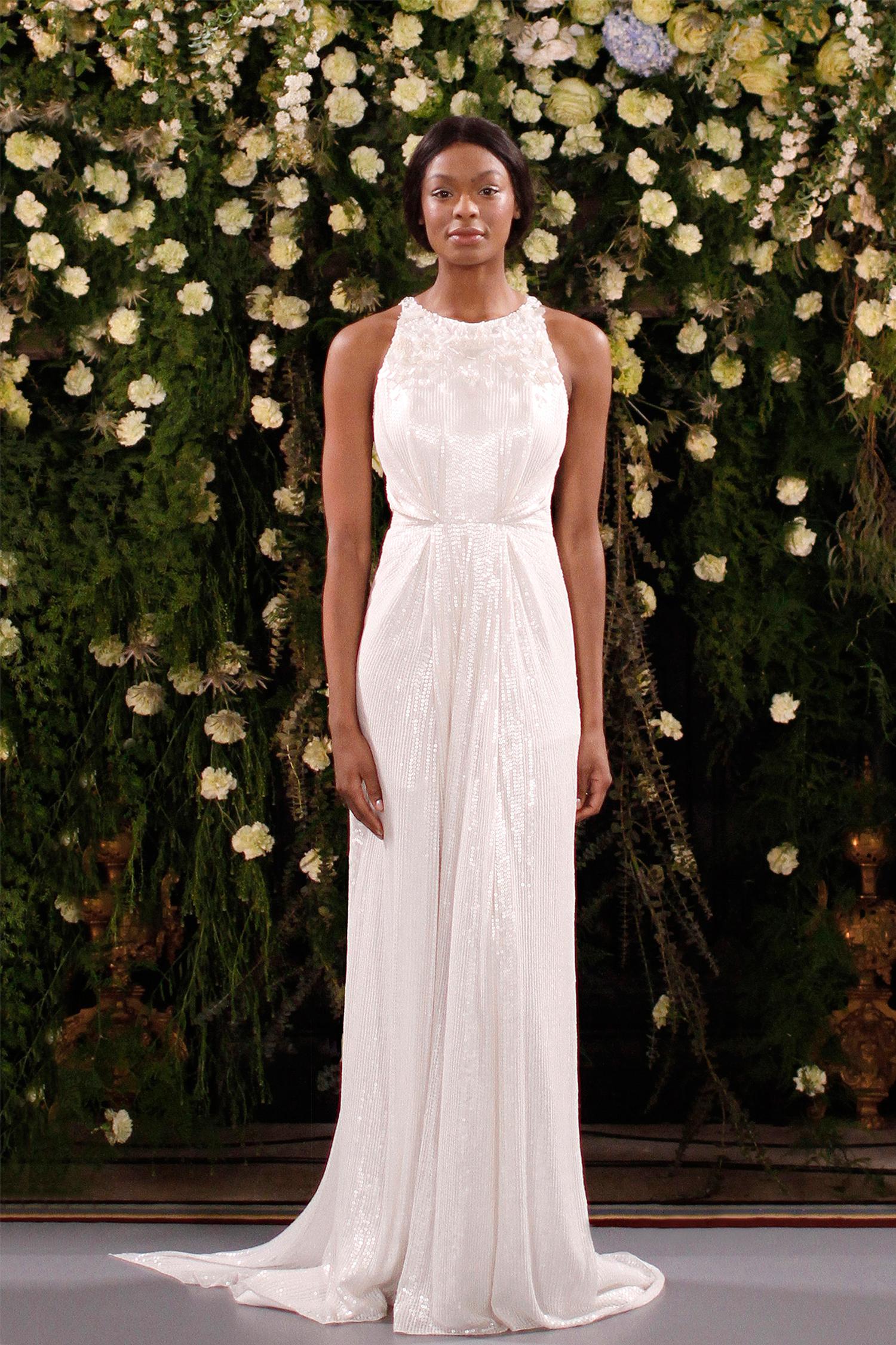 jenny packham wedding dress spring 2019 embellished high-neck sheath