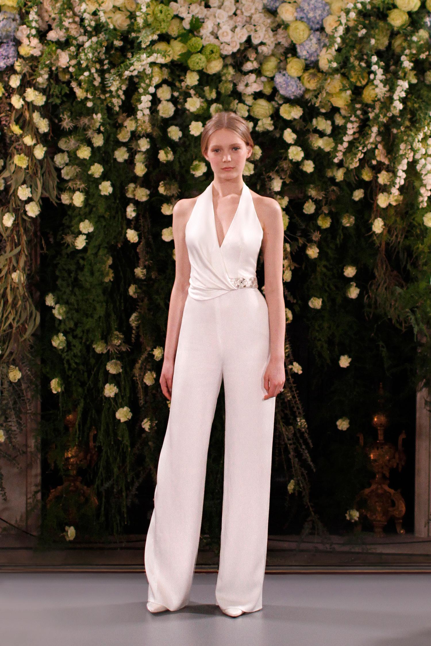 jenny packham wedding dress spring 2019 belted halter jumpsuit