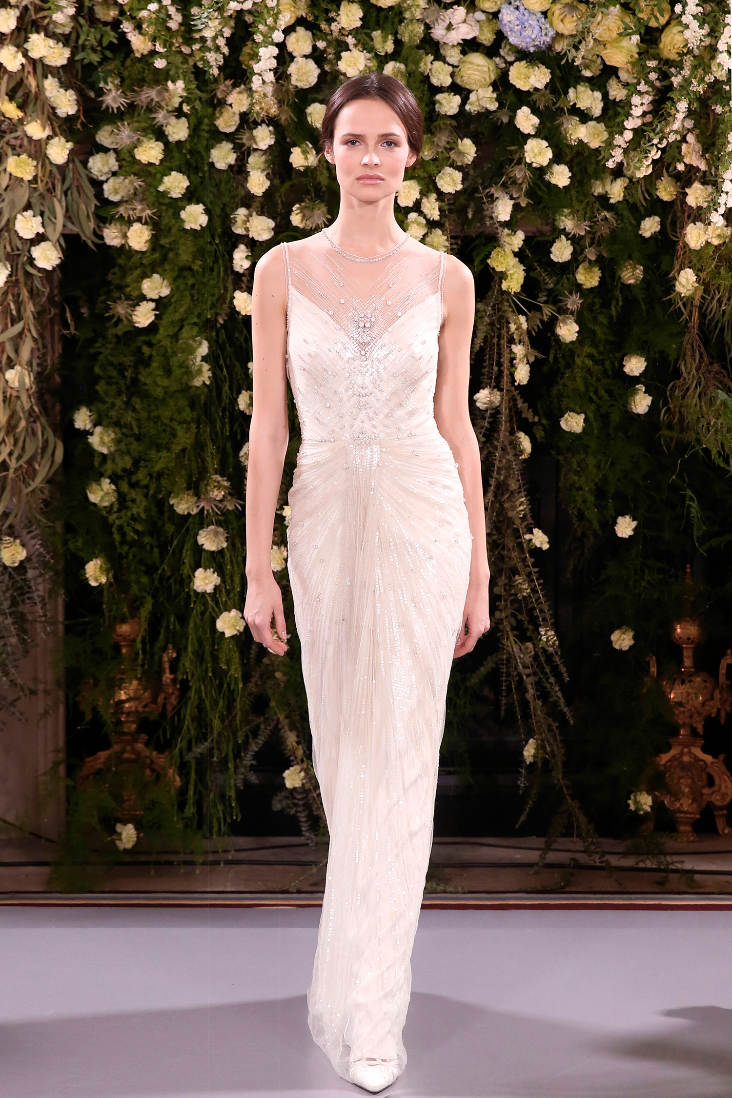 jenny packham wedding dress spring 2019 illusion neck with beadwork