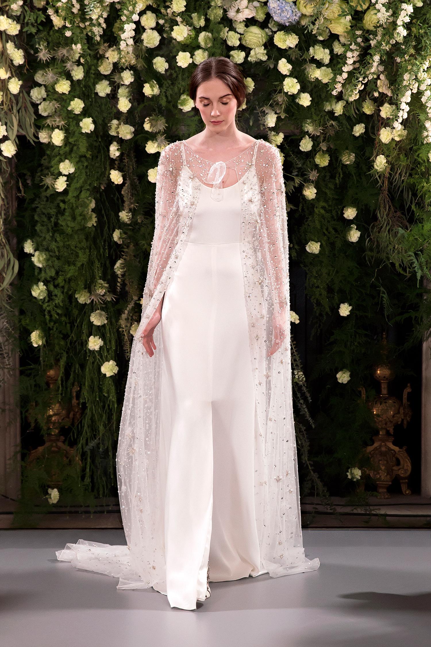 jenny packham wedding dress spring 2019 spaghetti strap with beaded cape