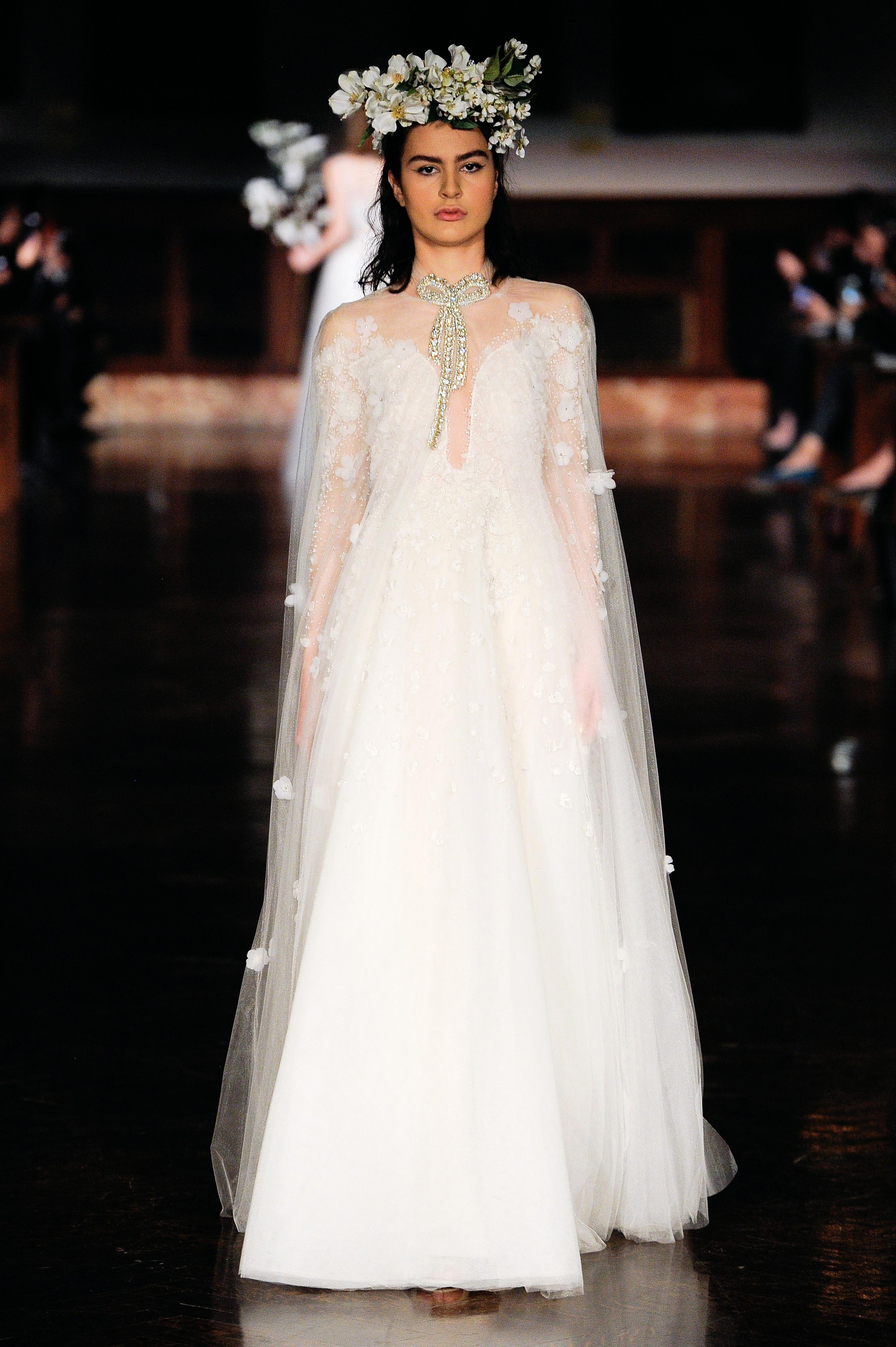 reem acra wedding dress spring 2019 sheer cape