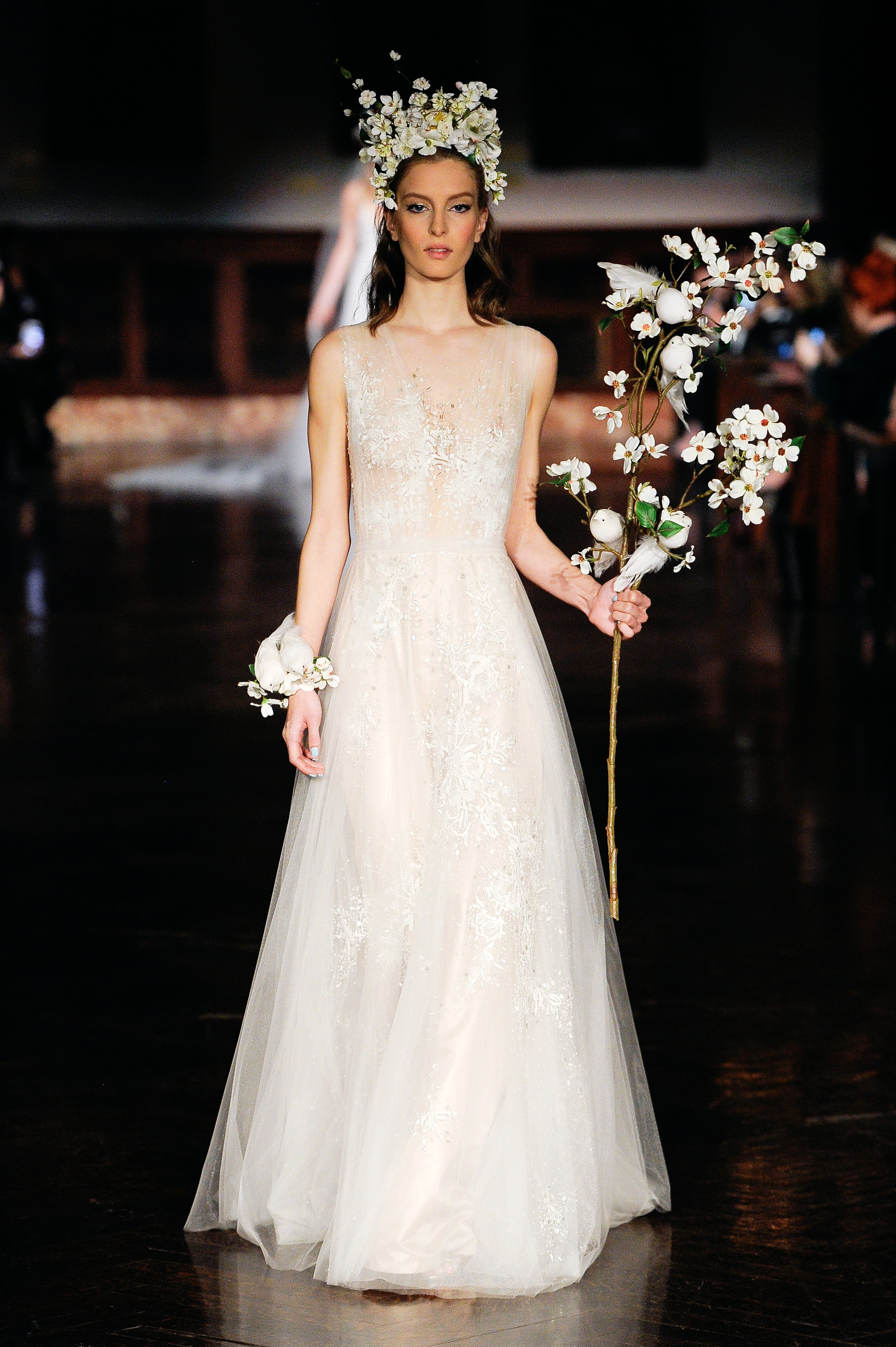 reem acra wedding dress spring 2019 sheer sleeveless a-line