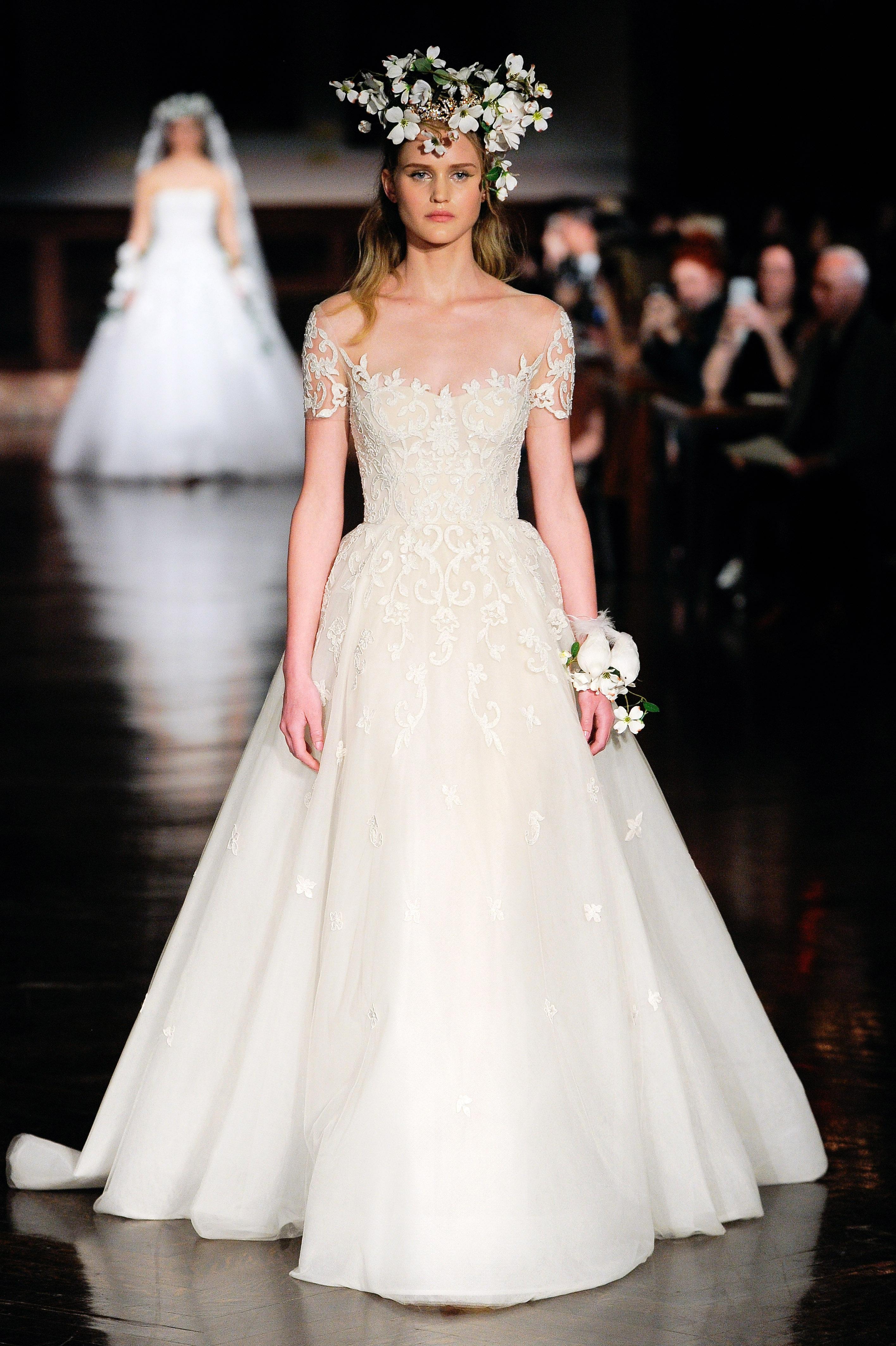 reem acra wedding dress spring 2019 off the shoulder ball gown